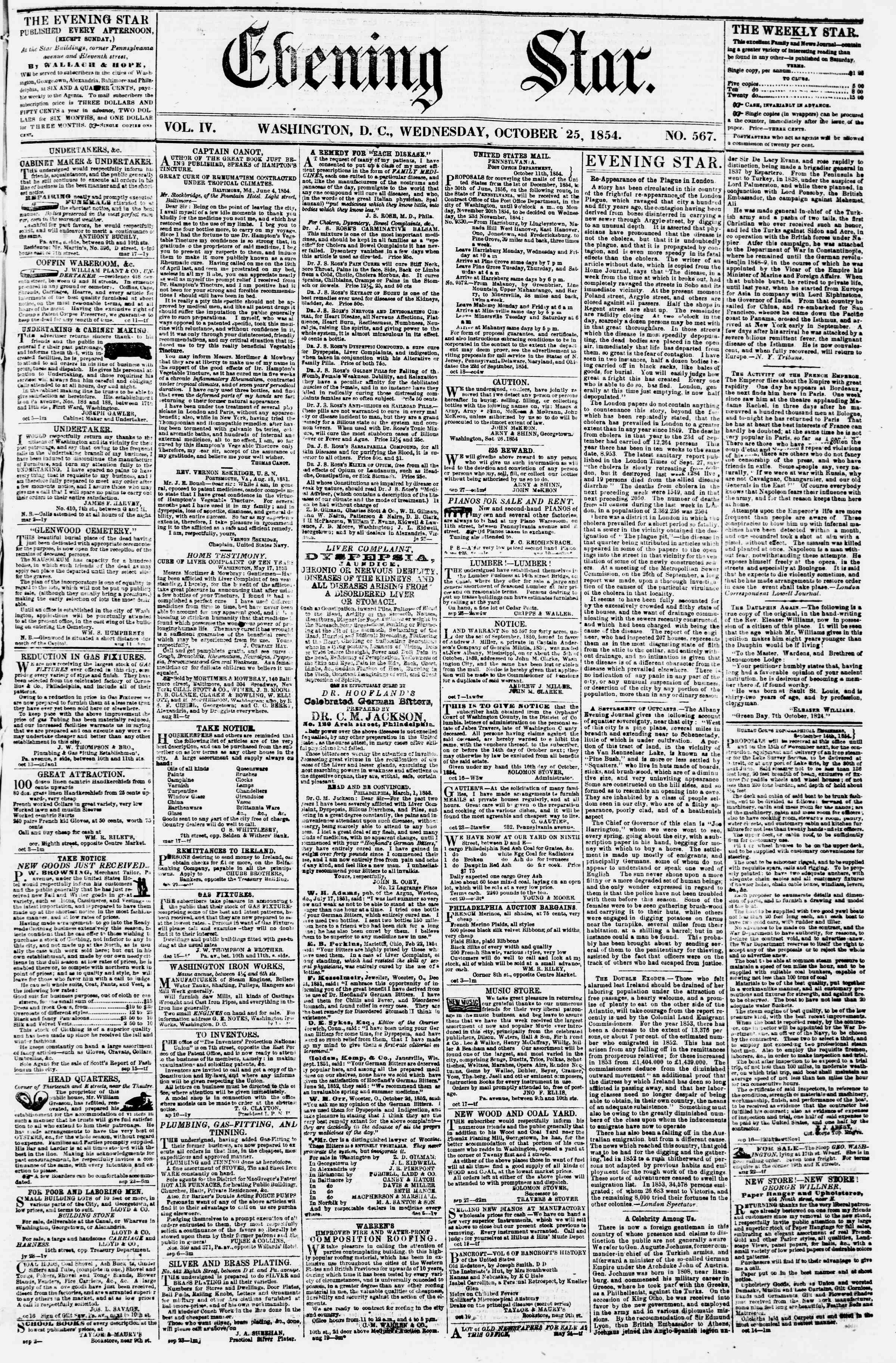 25 Ekim 1854 Tarihli Evening Star Dergisi Sayfa 1