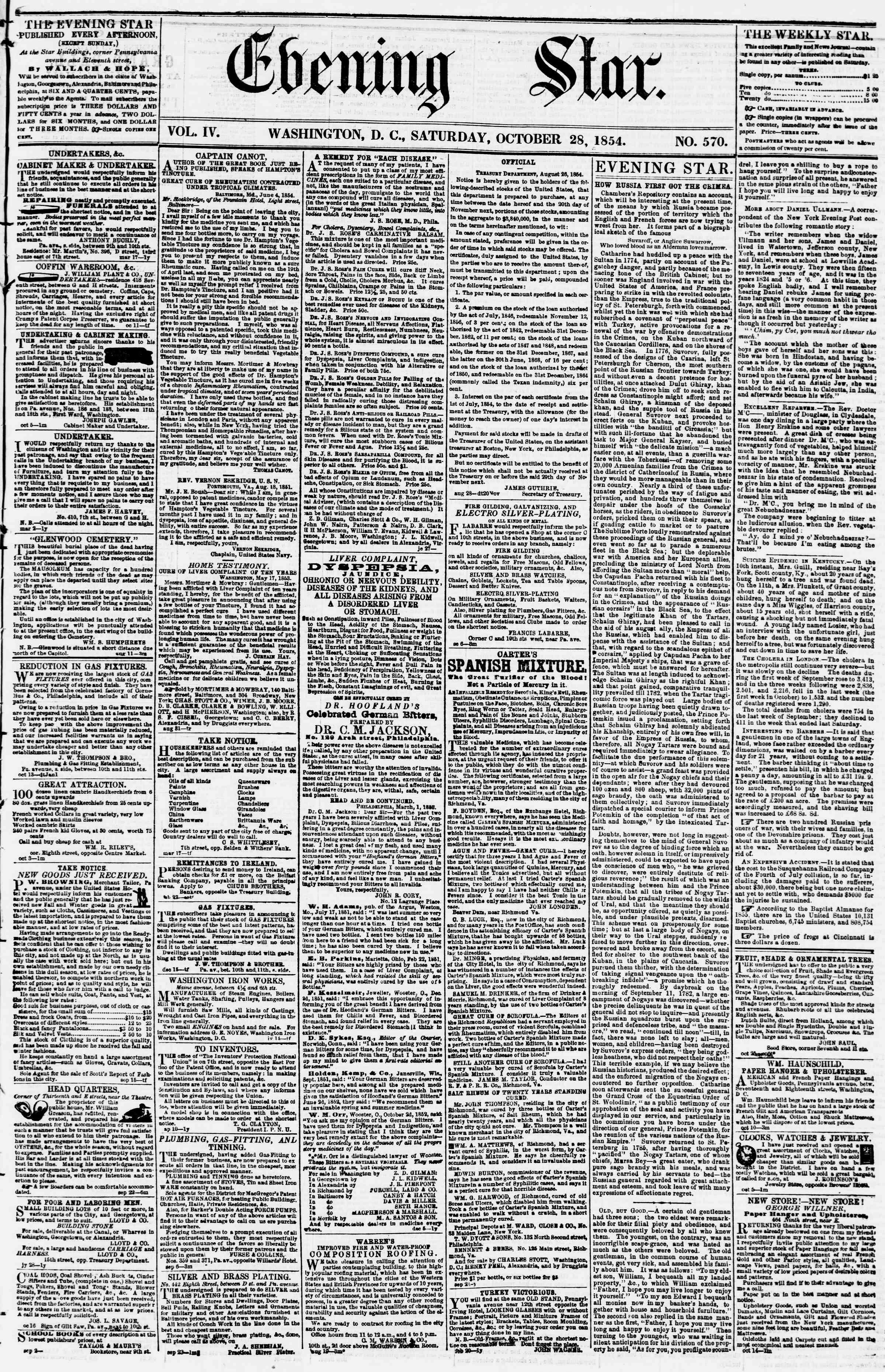 28 Ekim 1854 Tarihli Evening Star Dergisi Sayfa 1