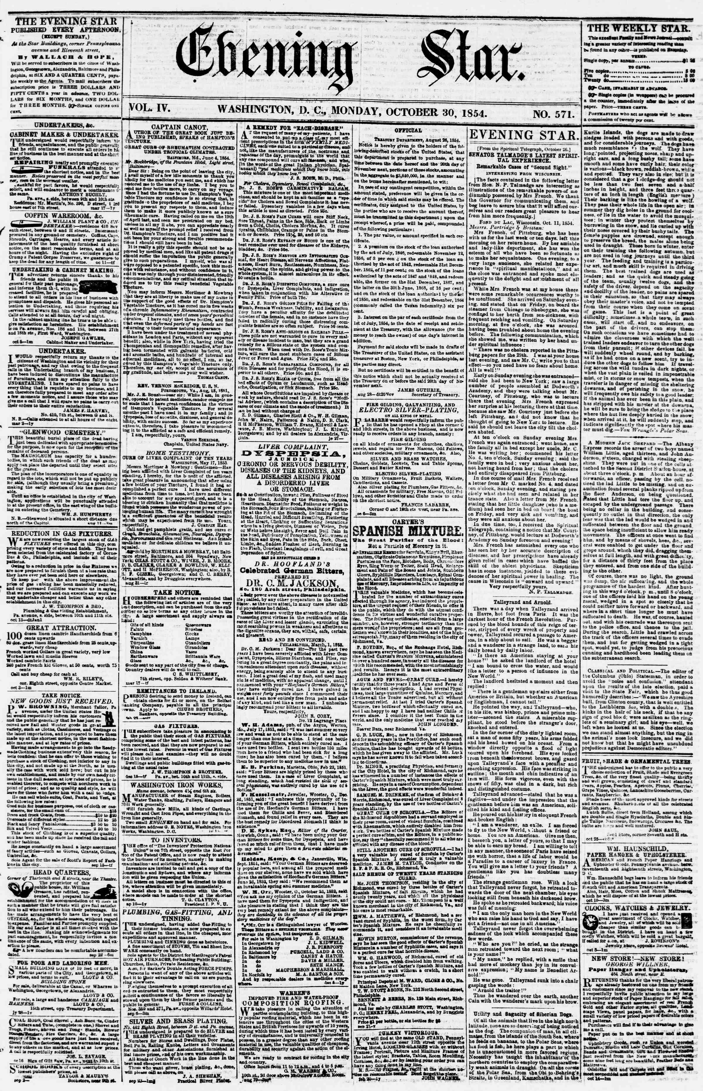 30 Ekim 1854 Tarihli Evening Star Dergisi Sayfa 1