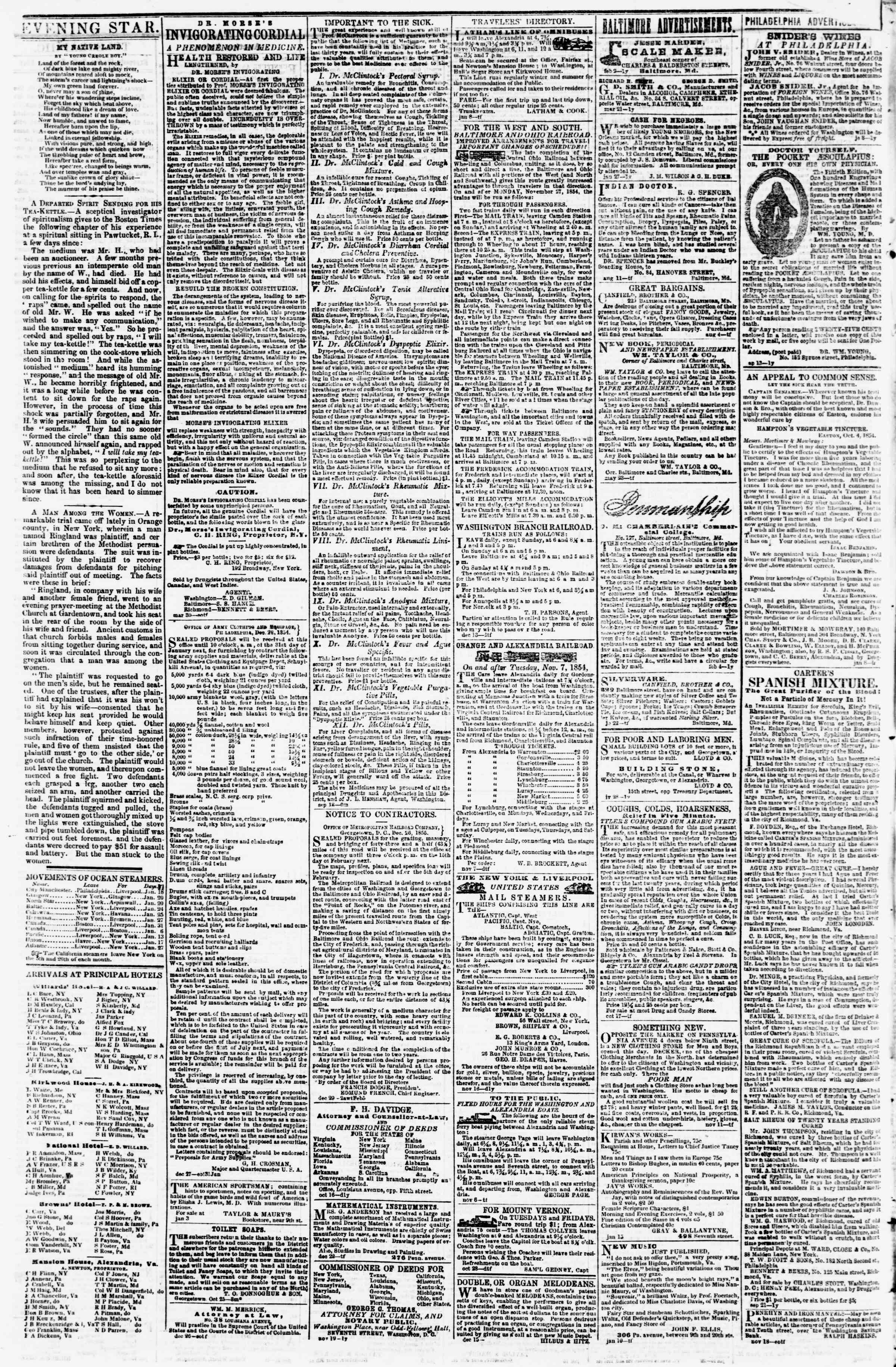 Newspaper of Evening Star dated January 24, 1855 Page 4