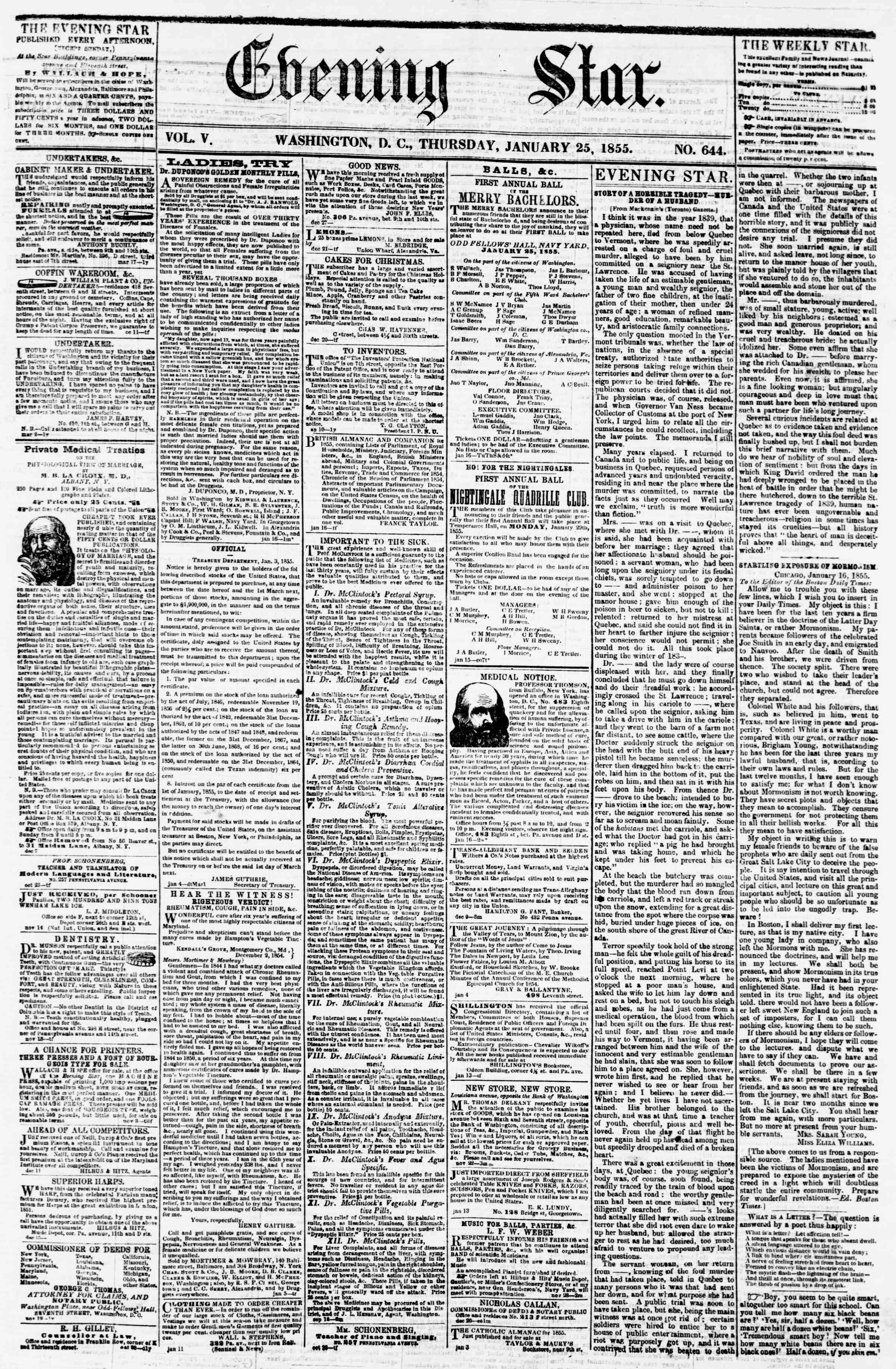 Newspaper of Evening Star dated January 25, 1855 Page 1