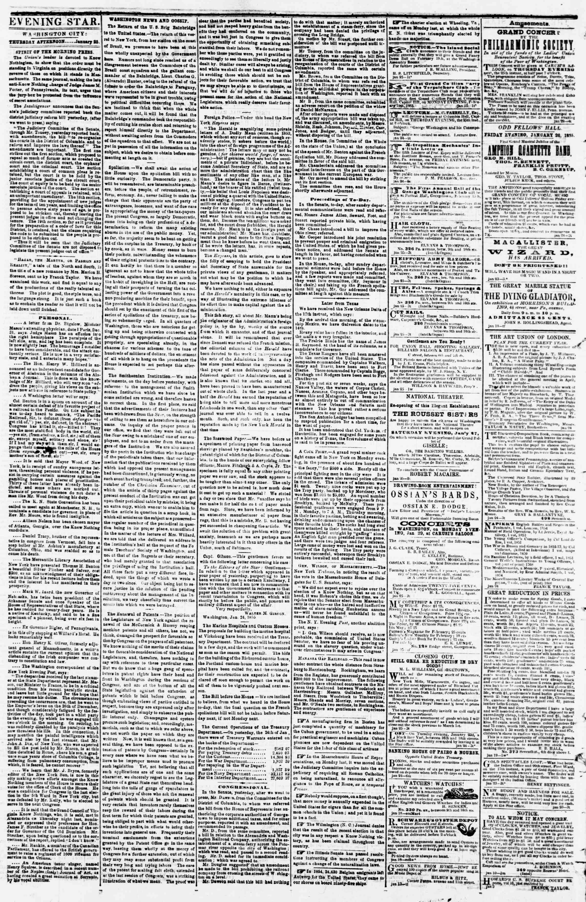 25 Ocak 1855 tarihli Evening Star Gazetesi Sayfa 2