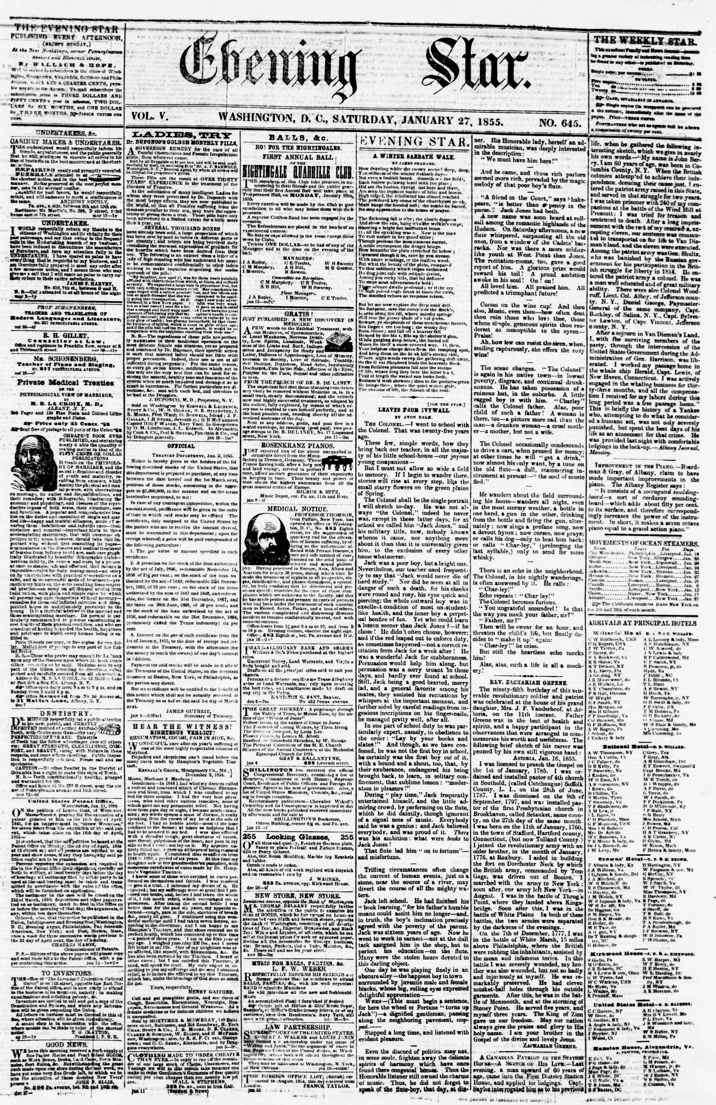 Newspaper of Evening Star dated January 27, 1855 Page 1
