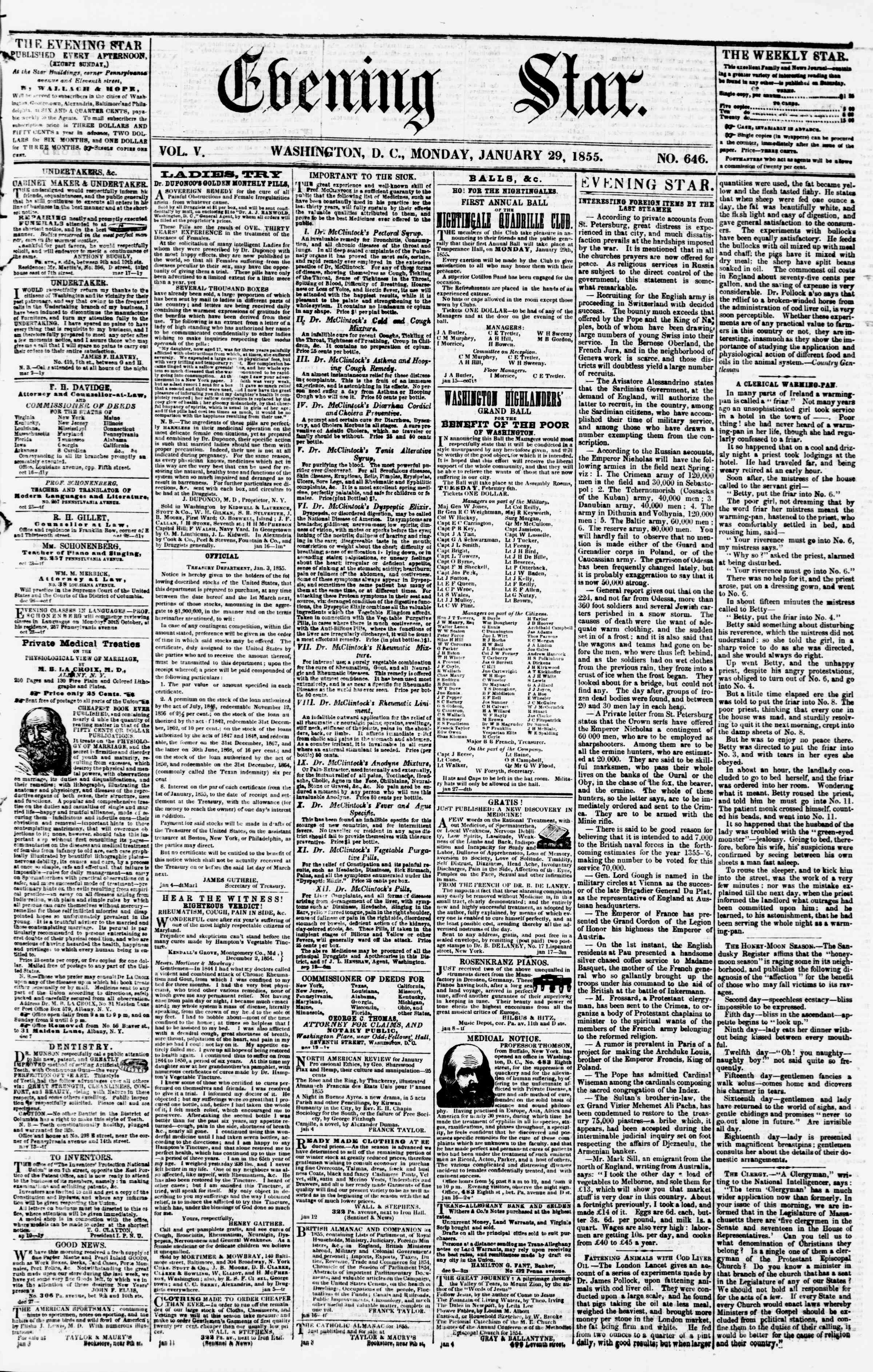 Newspaper of Evening Star dated January 29, 1855 Page 1