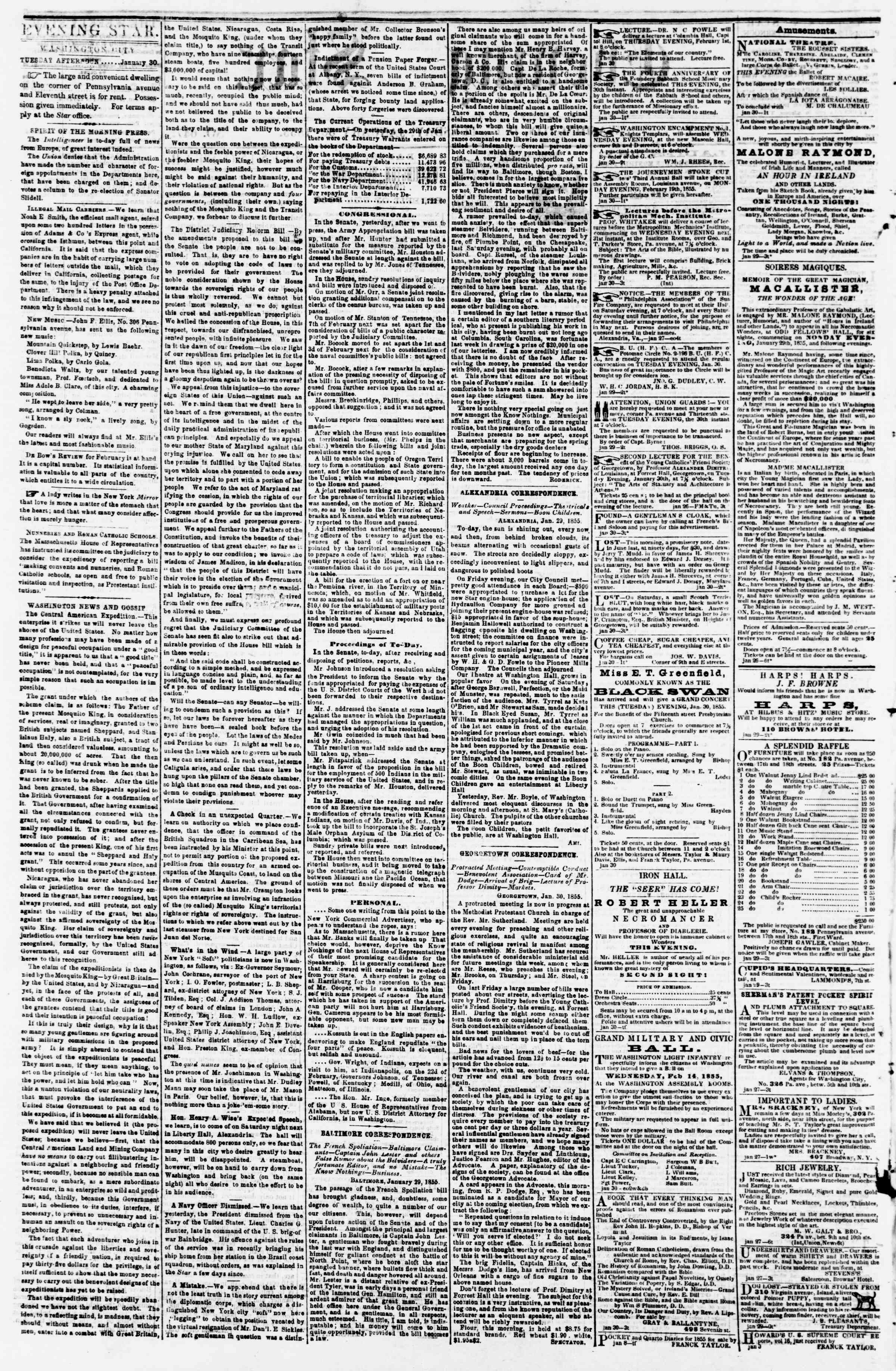 Newspaper of Evening Star dated January 30, 1855 Page 2