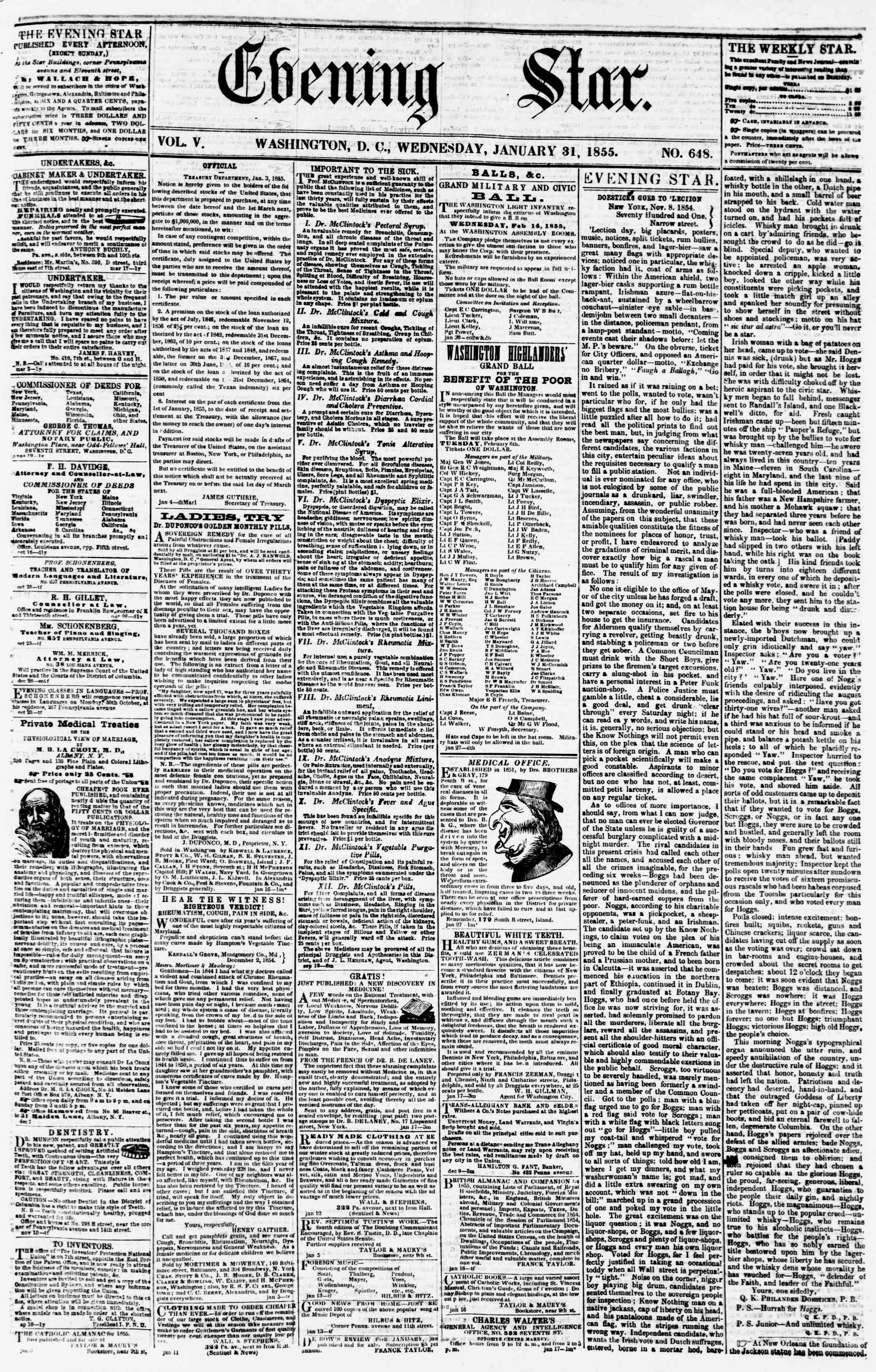Newspaper of Evening Star dated January 31, 1855 Page 1