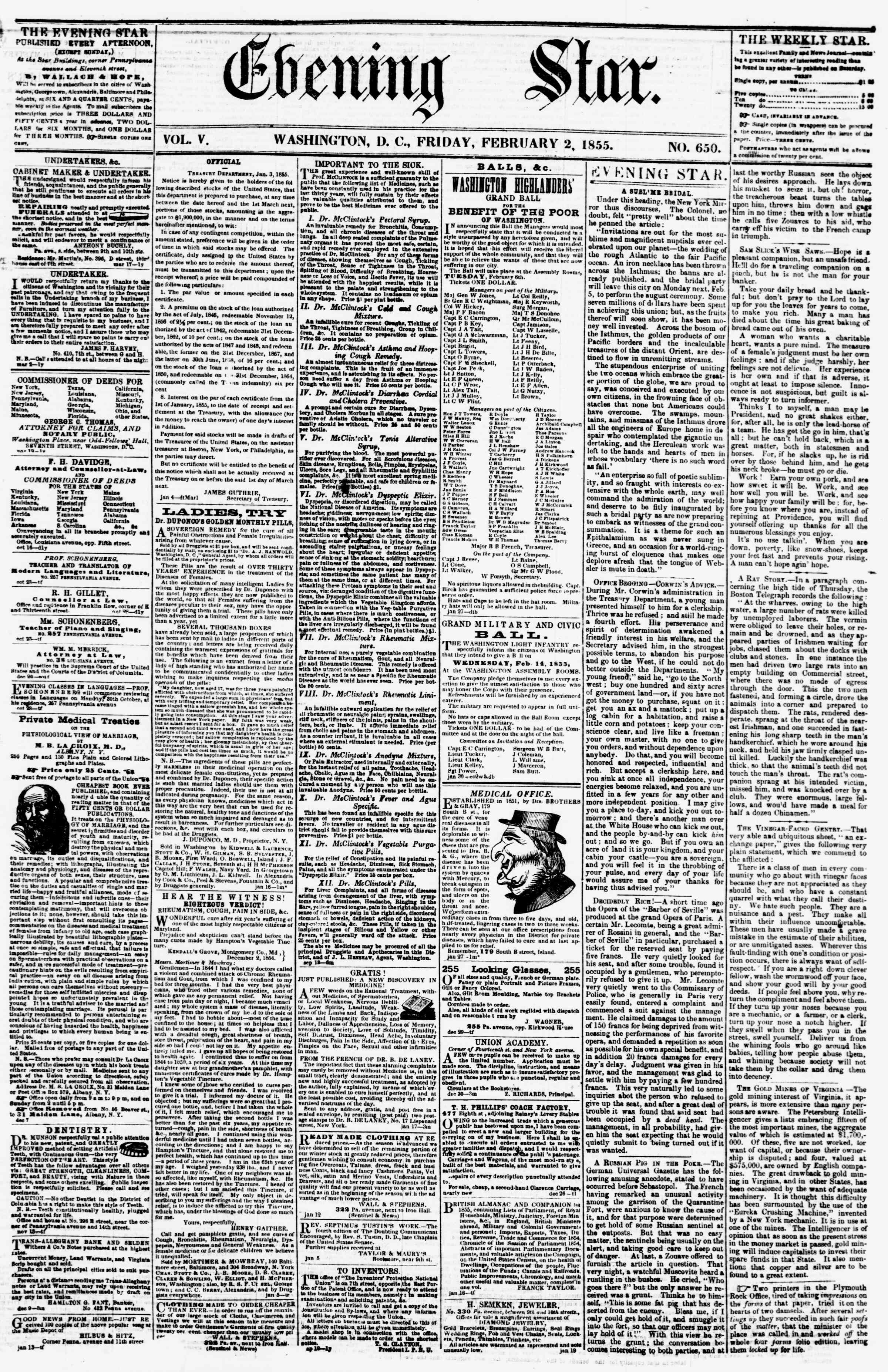 Newspaper of Evening Star dated February 2, 1855 Page 1