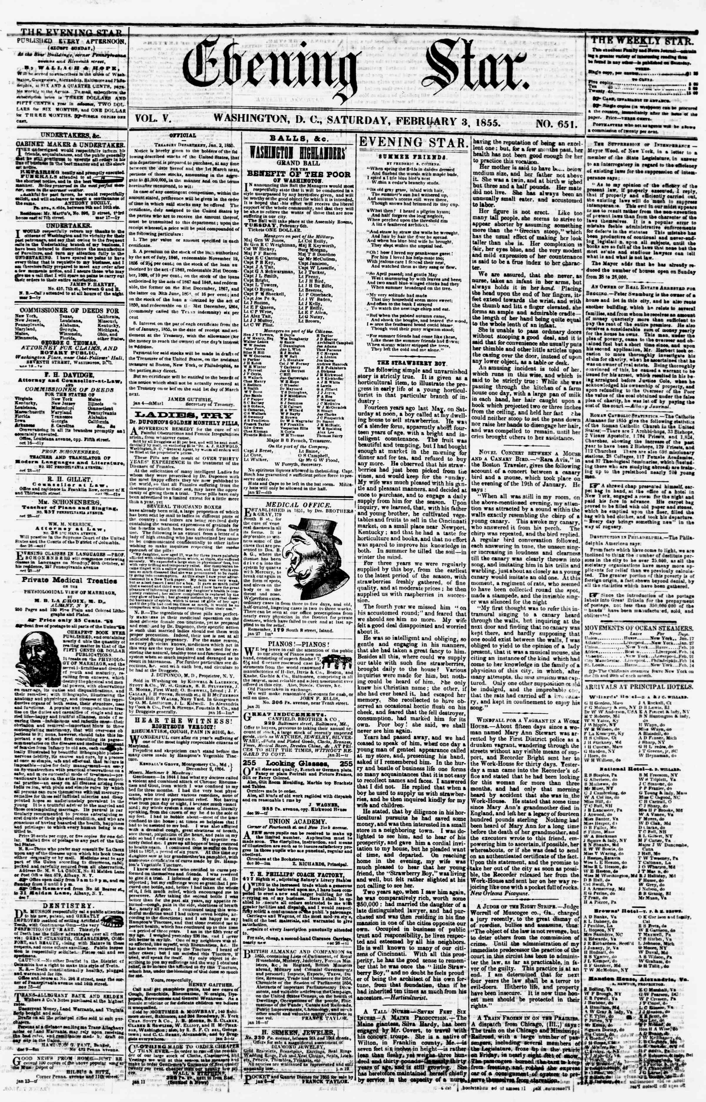 Newspaper of Evening Star dated February 3, 1855 Page 1