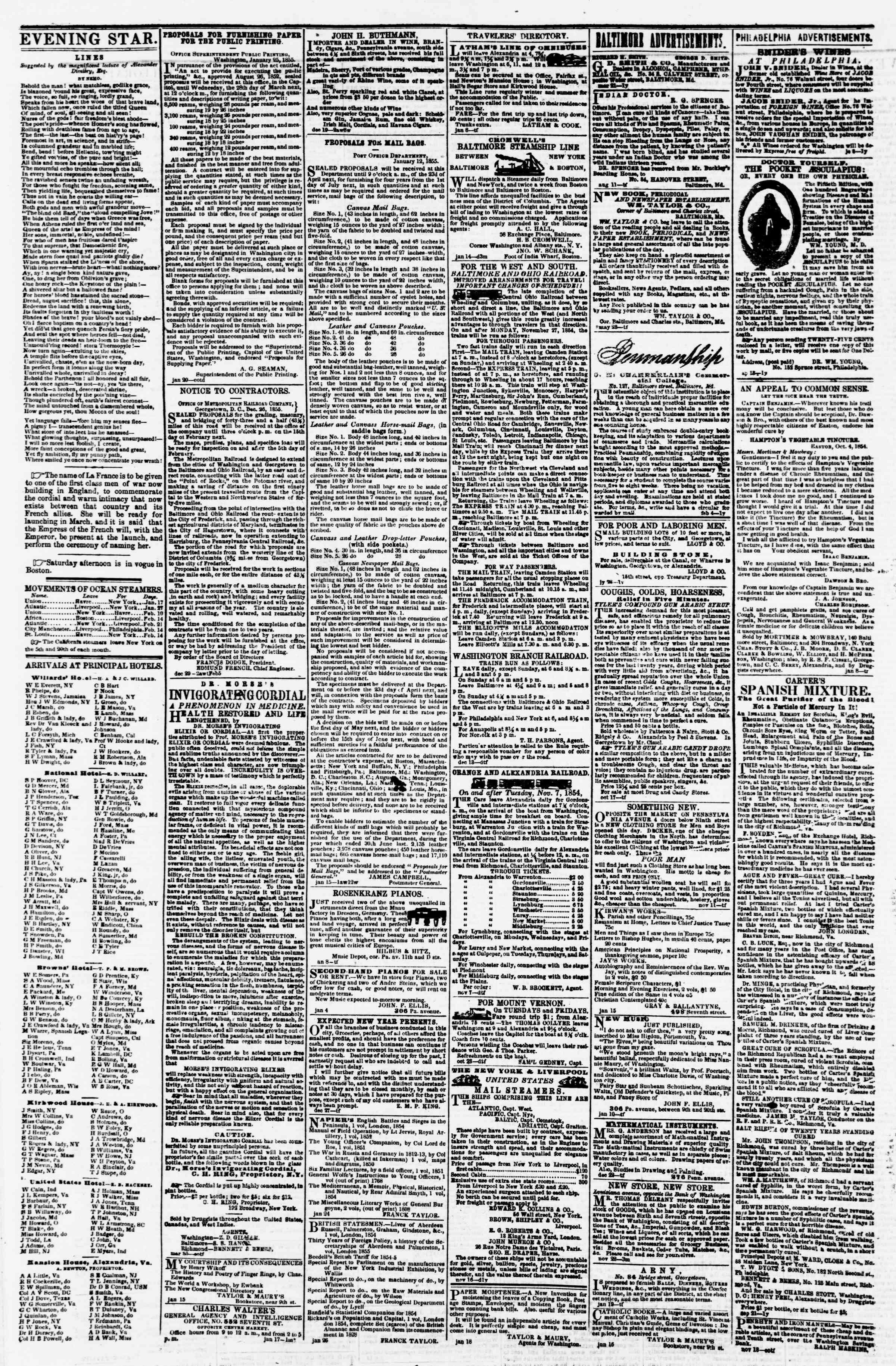 Newspaper of Evening Star dated 5 Şubat 1855 Page 4