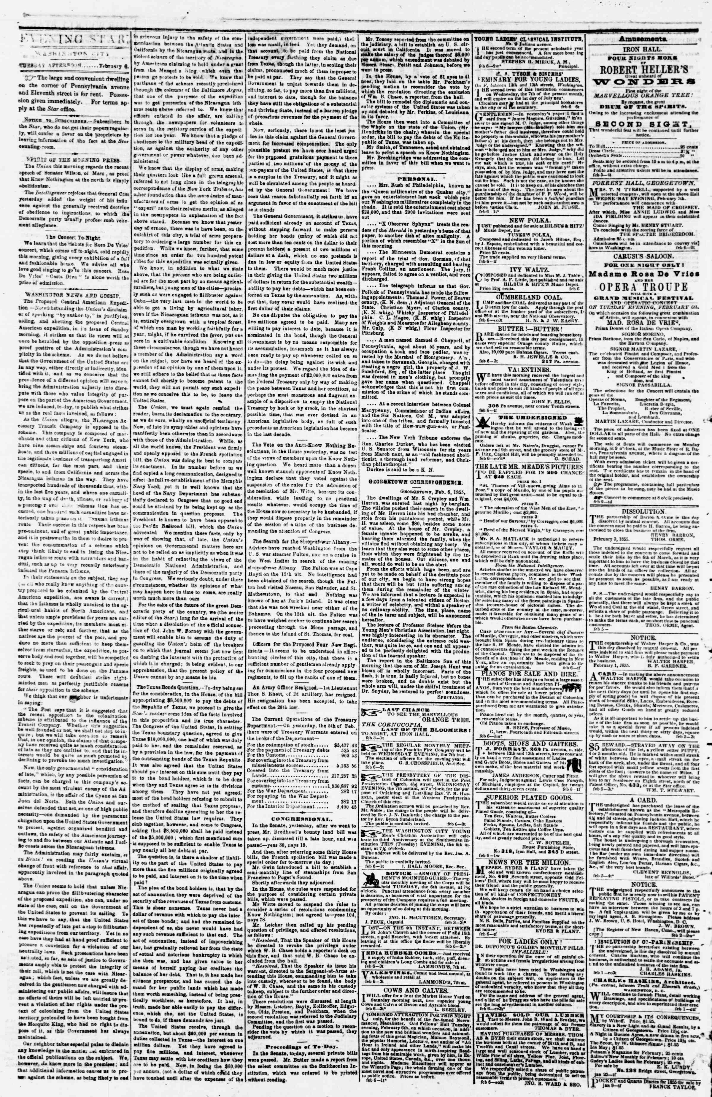 Newspaper of Evening Star dated February 6, 1855 Page 2