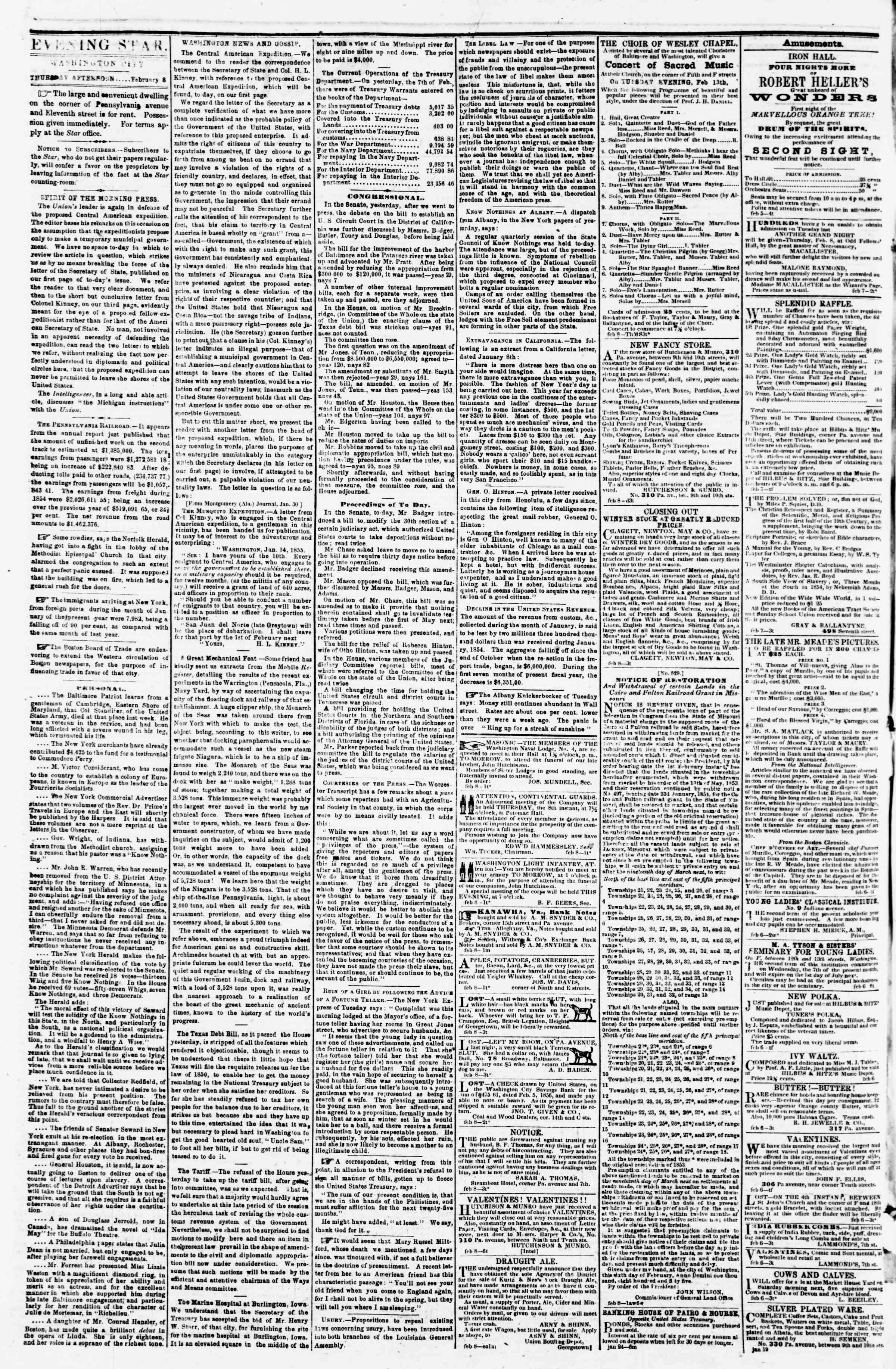 Newspaper of Evening Star dated February 8, 1855 Page 2