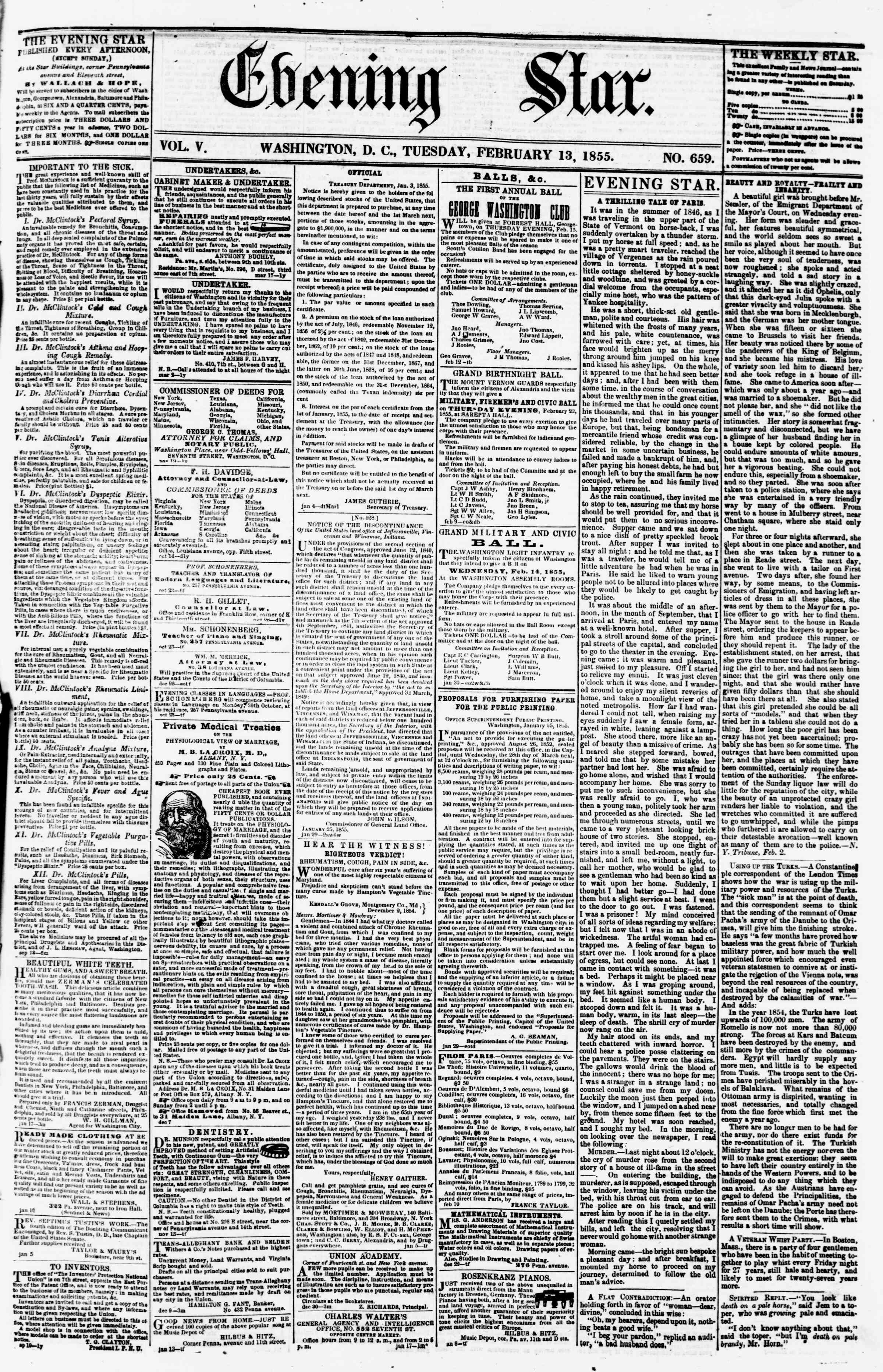 Newspaper of Evening Star dated February 13, 1855 Page 1