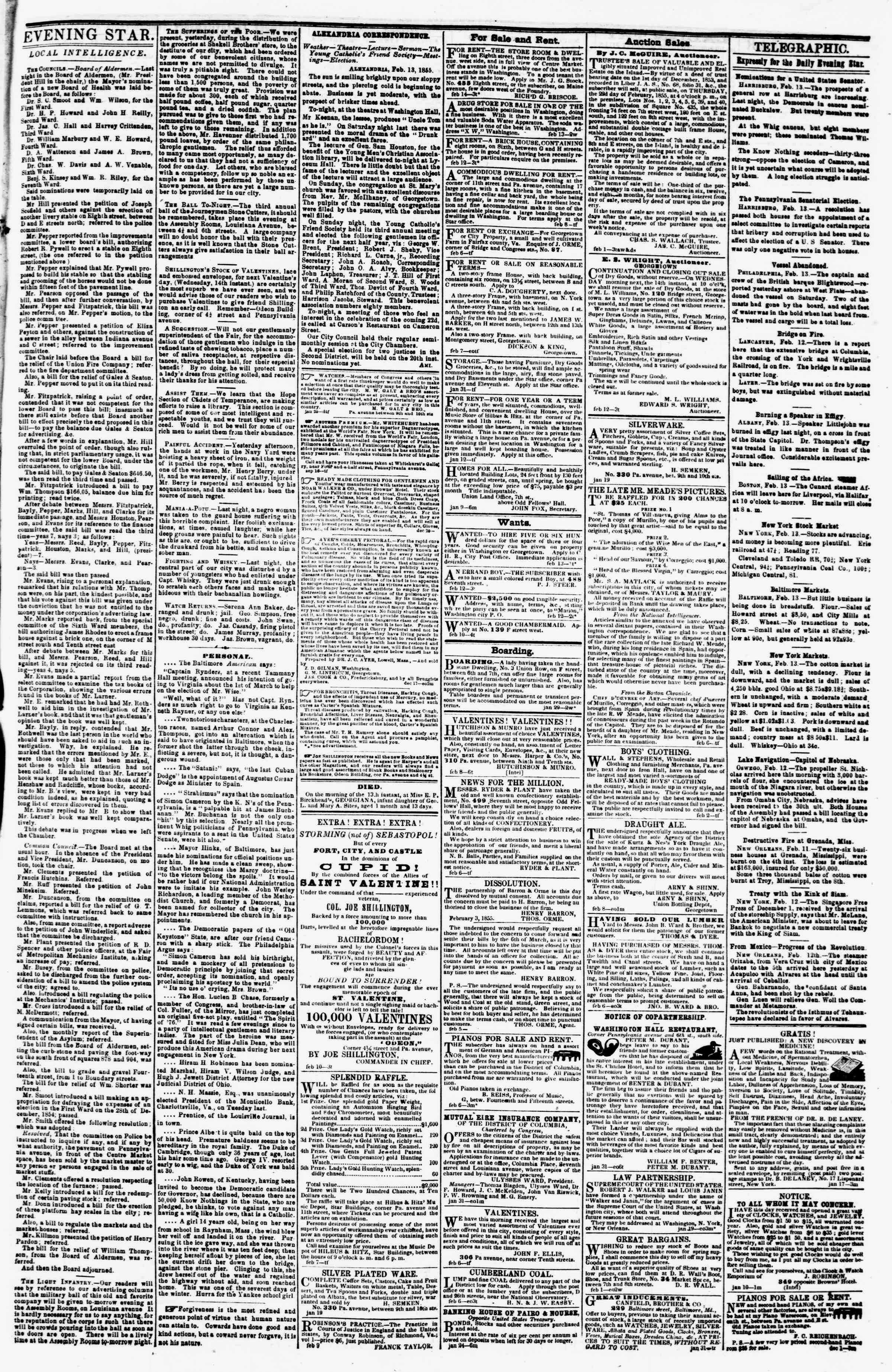 Newspaper of Evening Star dated February 13, 1855 Page 3