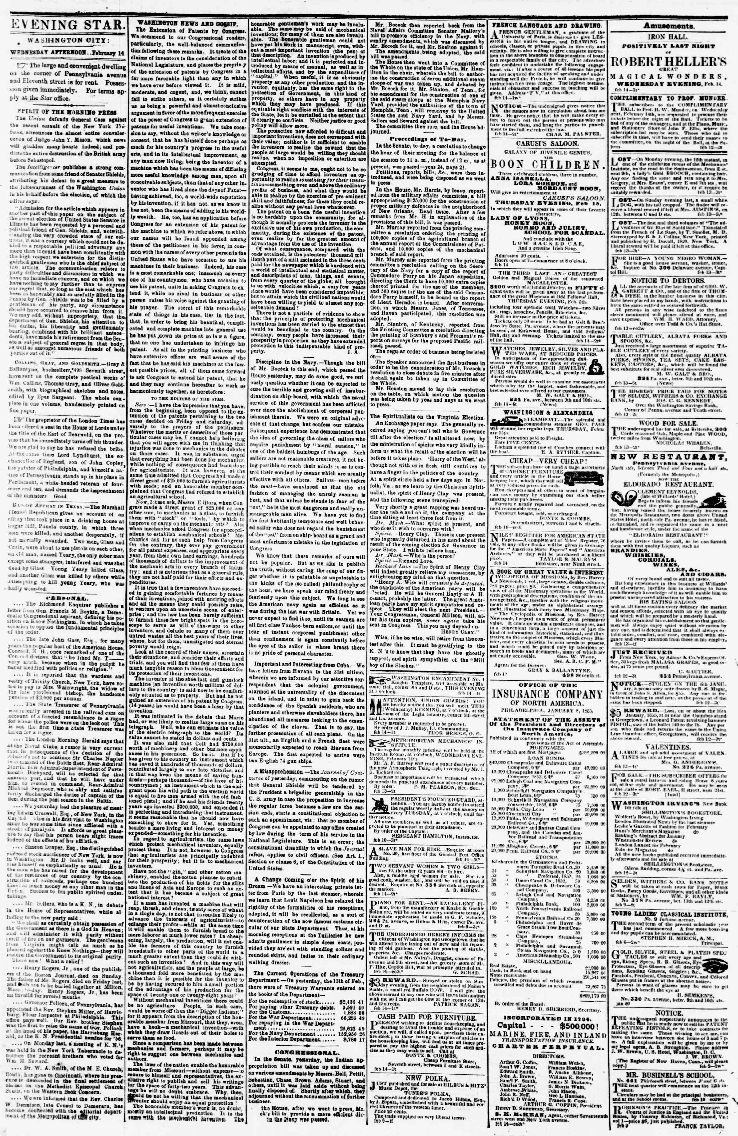 Newspaper of Evening Star dated February 14, 1855 Page 2