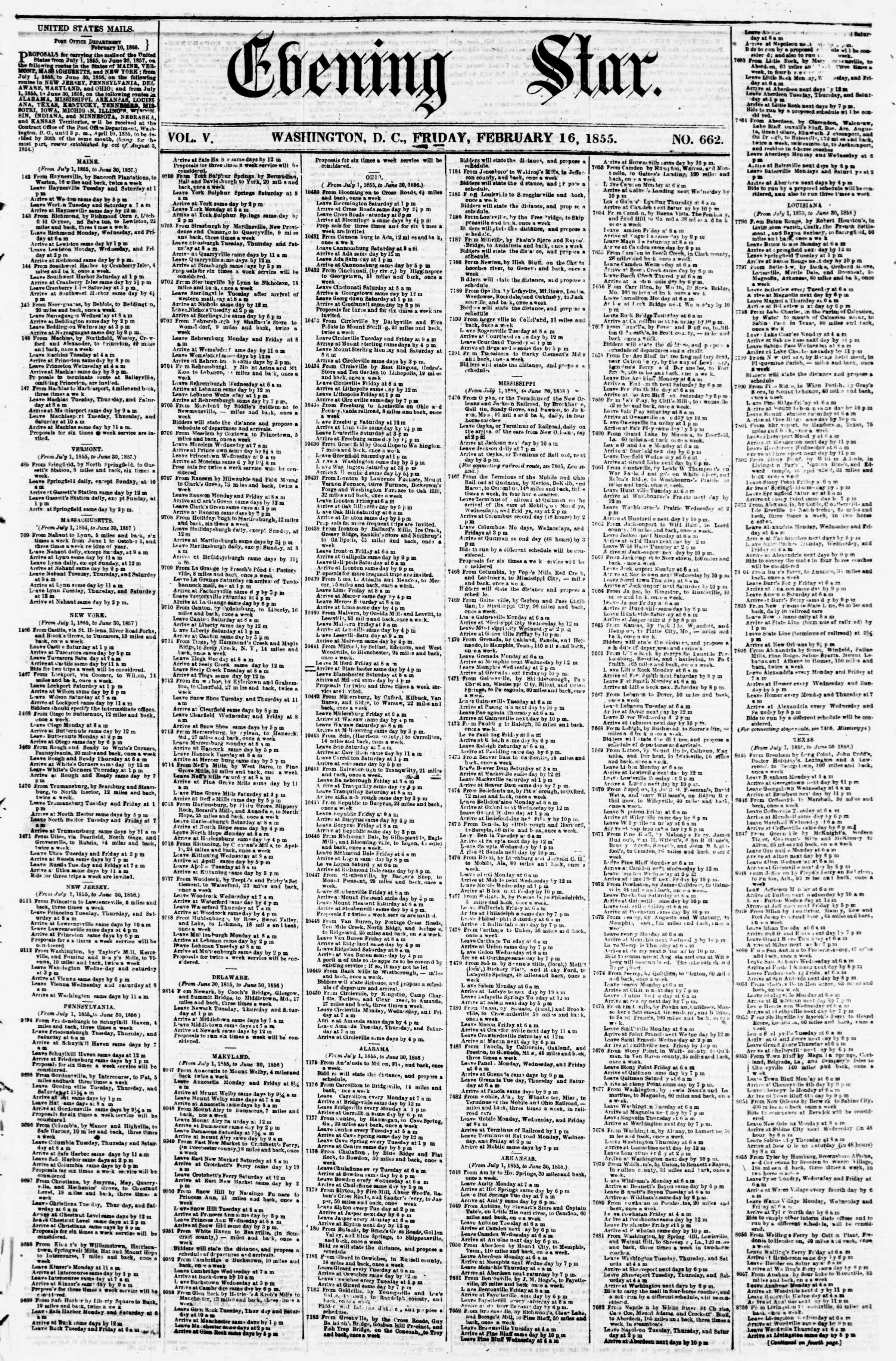 Newspaper of Evening Star dated February 16, 1855 Page 1