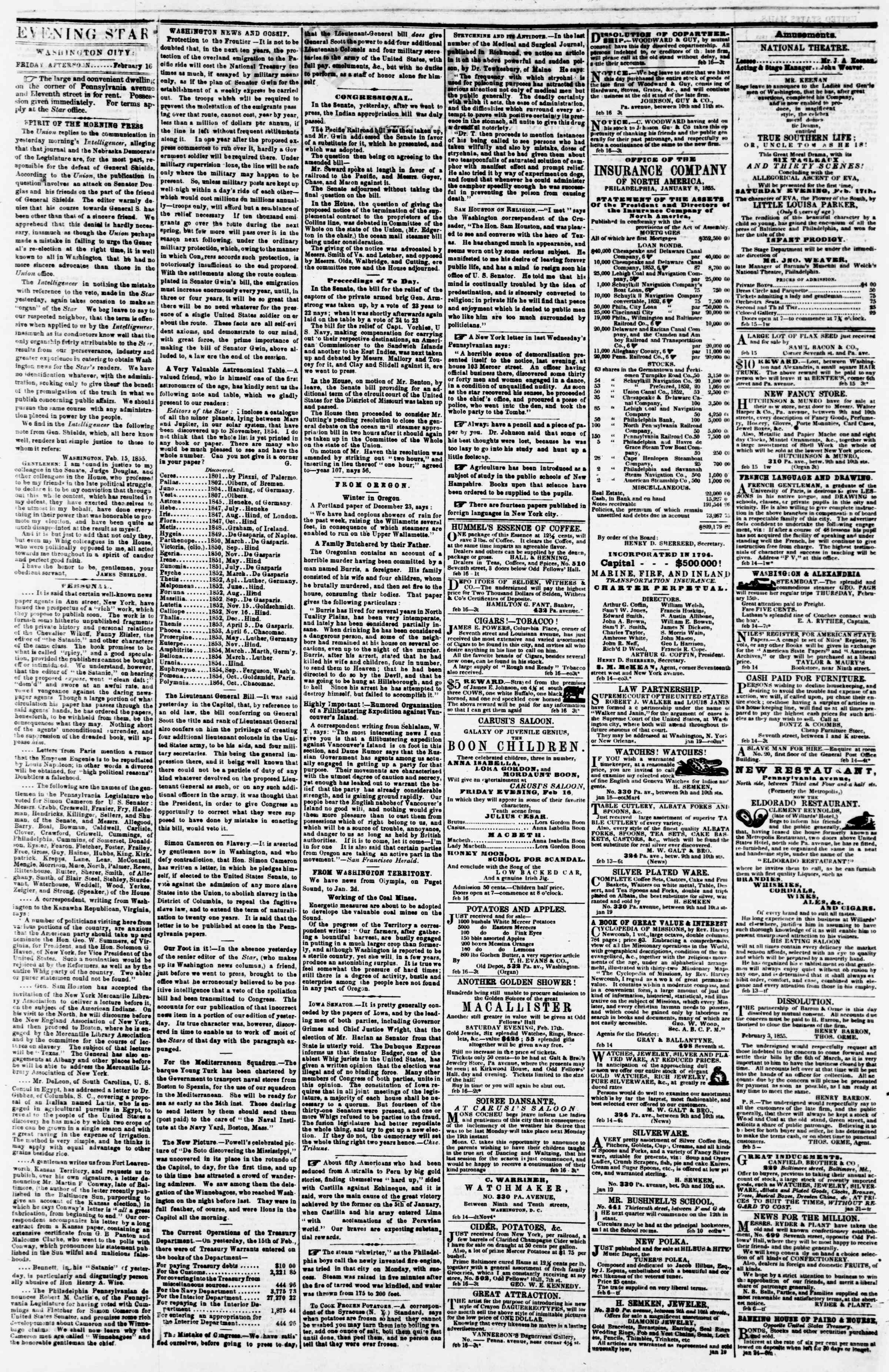 Newspaper of Evening Star dated February 16, 1855 Page 2