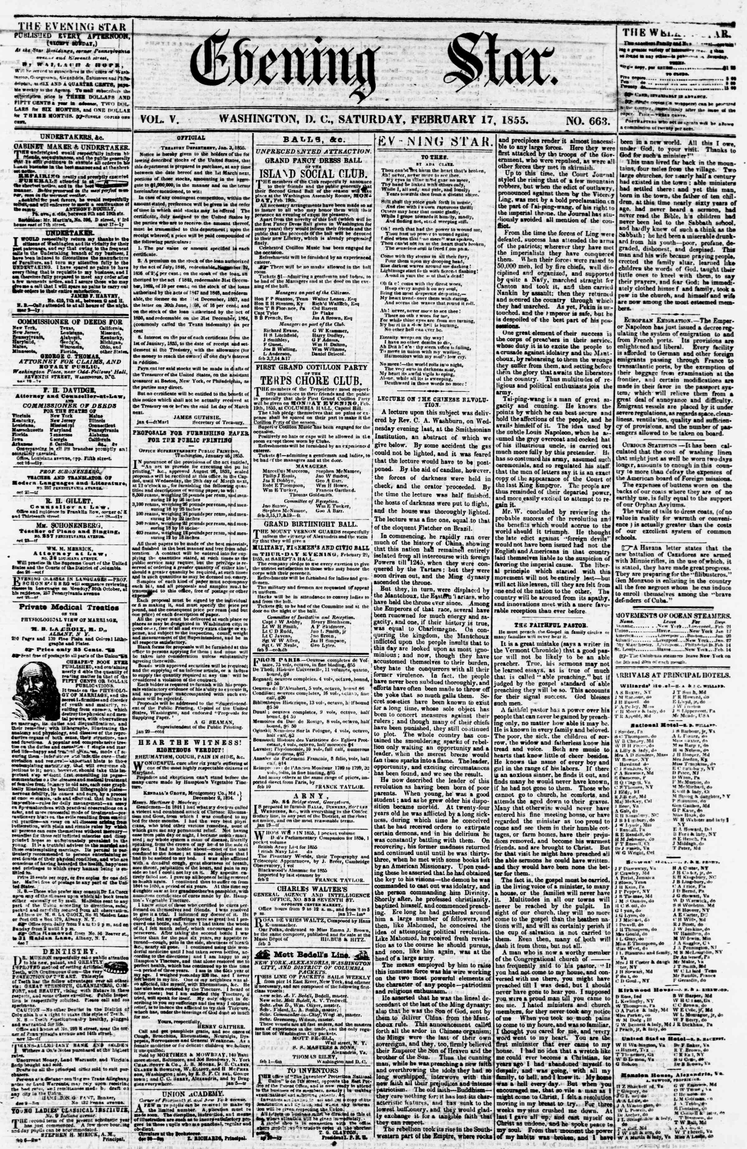 Newspaper of Evening Star dated February 17, 1855 Page 1