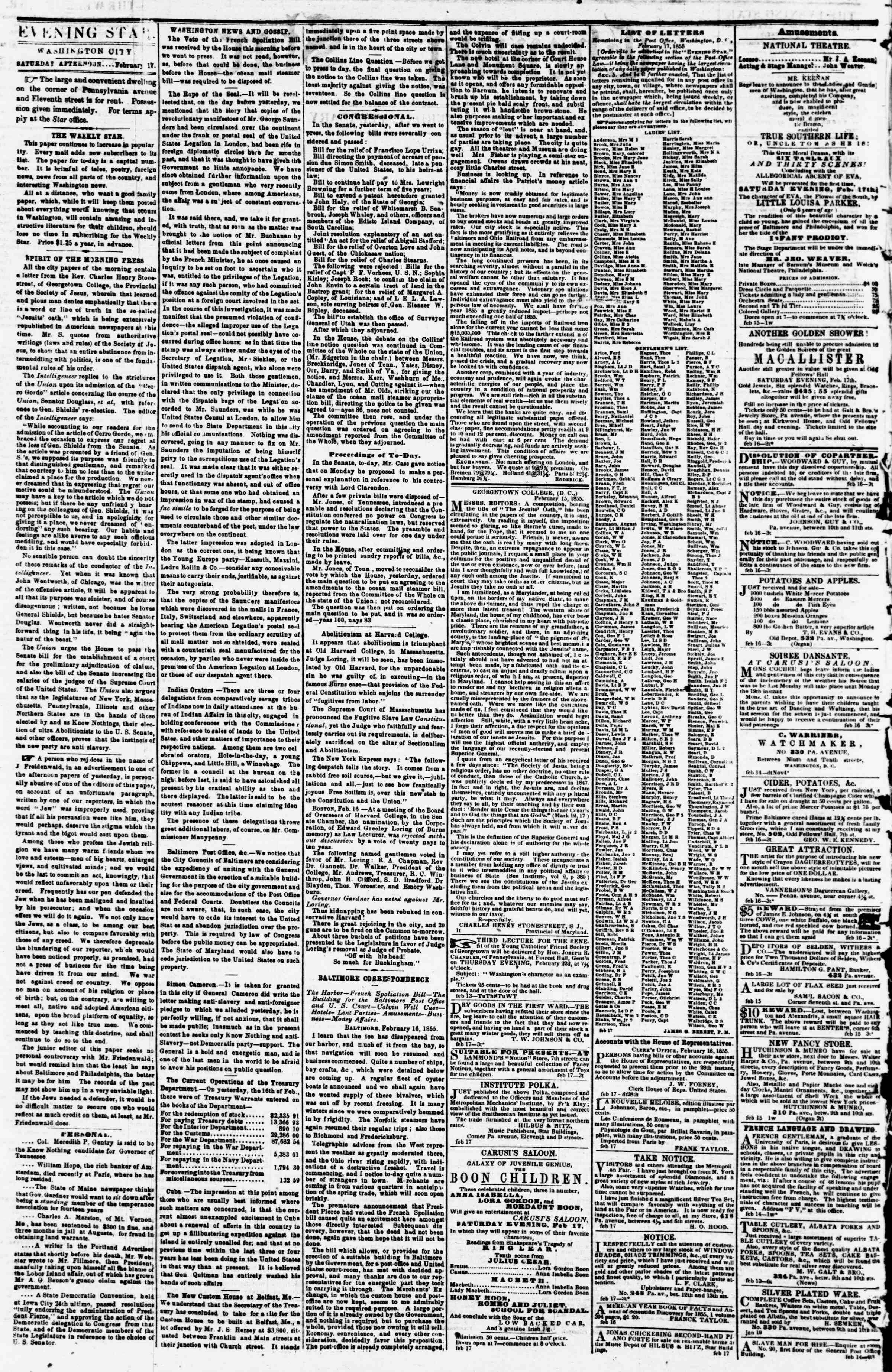 Newspaper of Evening Star dated February 17, 1855 Page 2