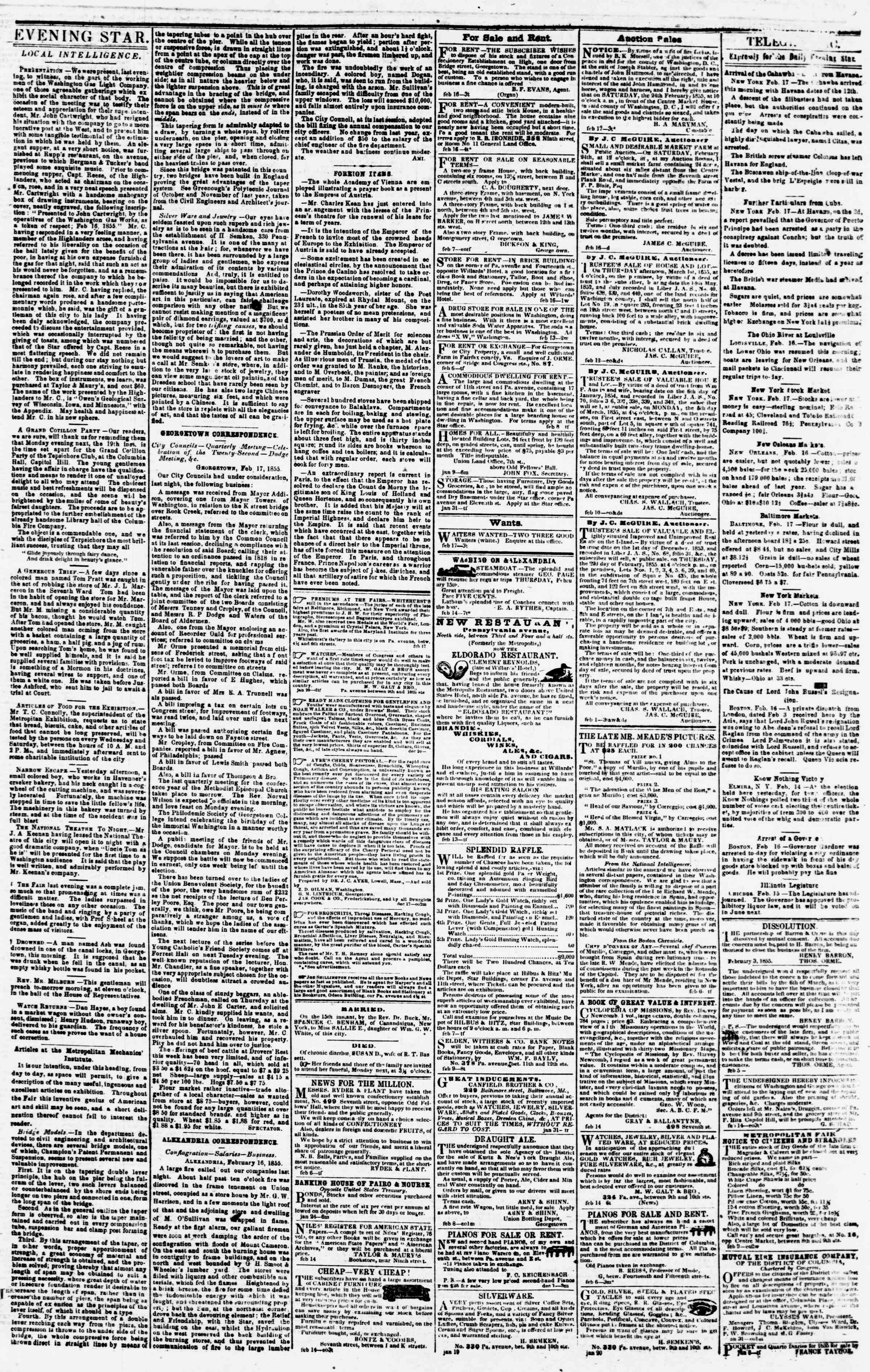 Newspaper of Evening Star dated February 17, 1855 Page 3