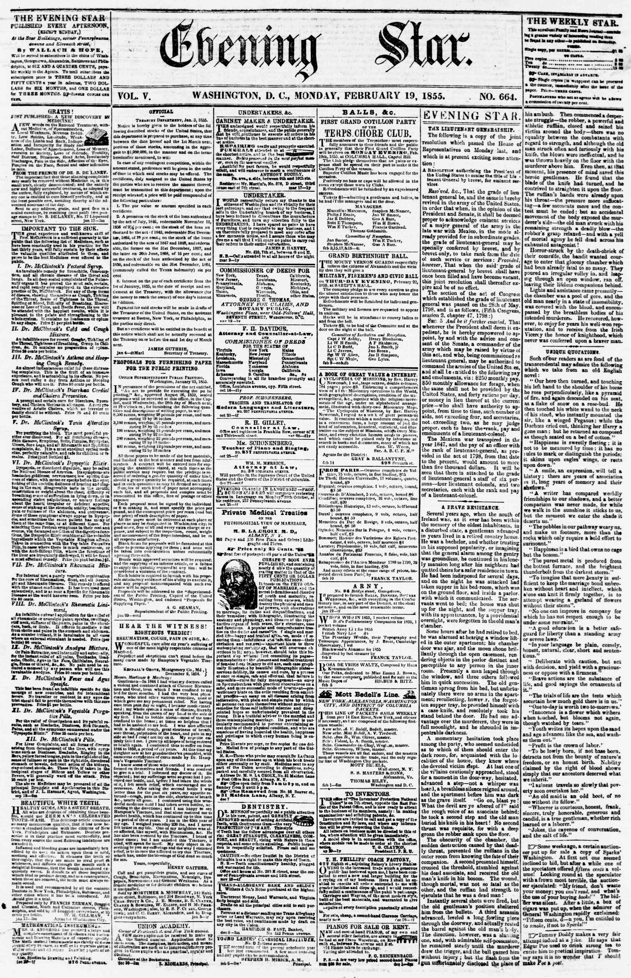 Newspaper of Evening Star dated February 19, 1855 Page 1