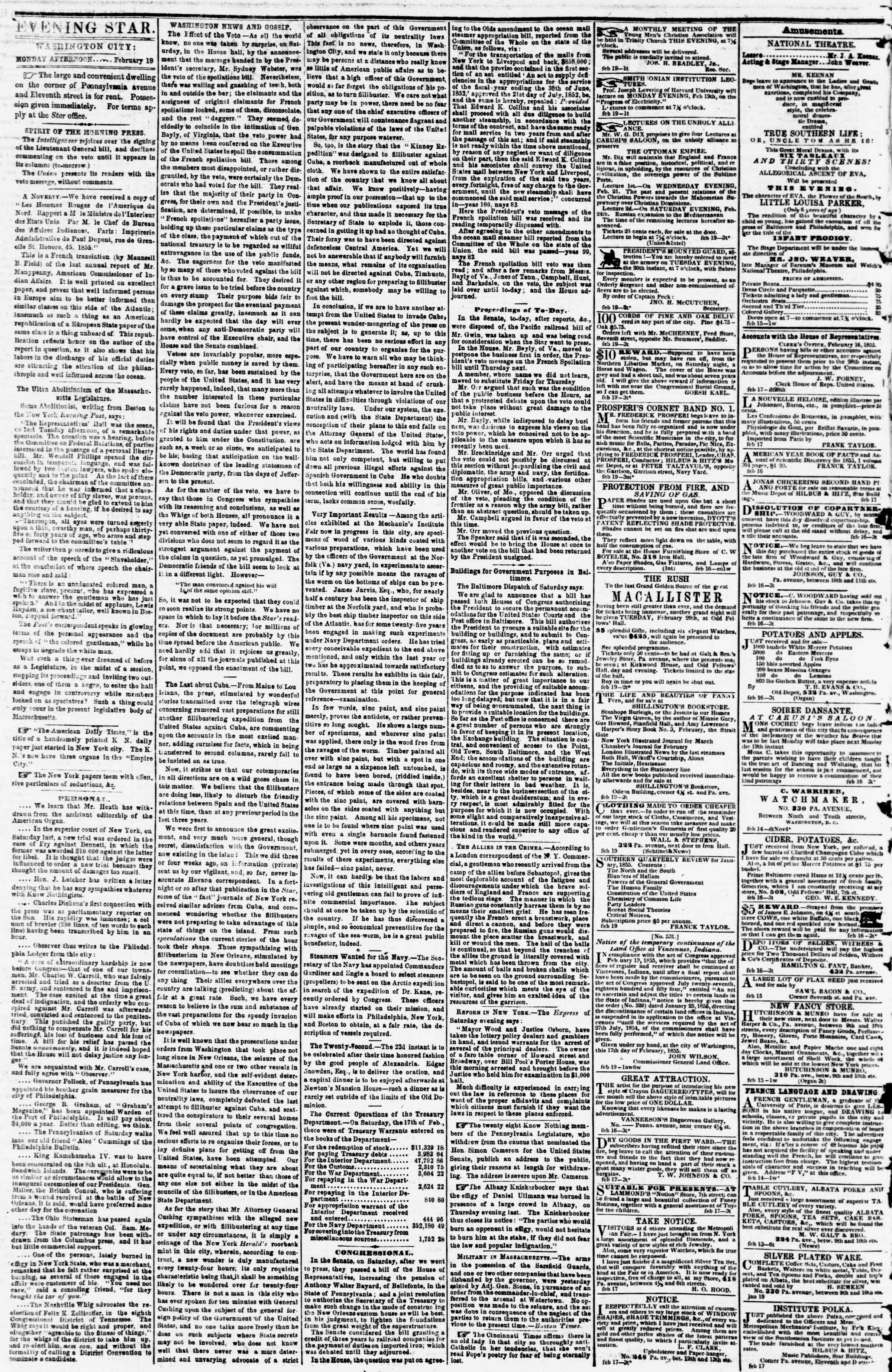 Newspaper of Evening Star dated February 19, 1855 Page 2