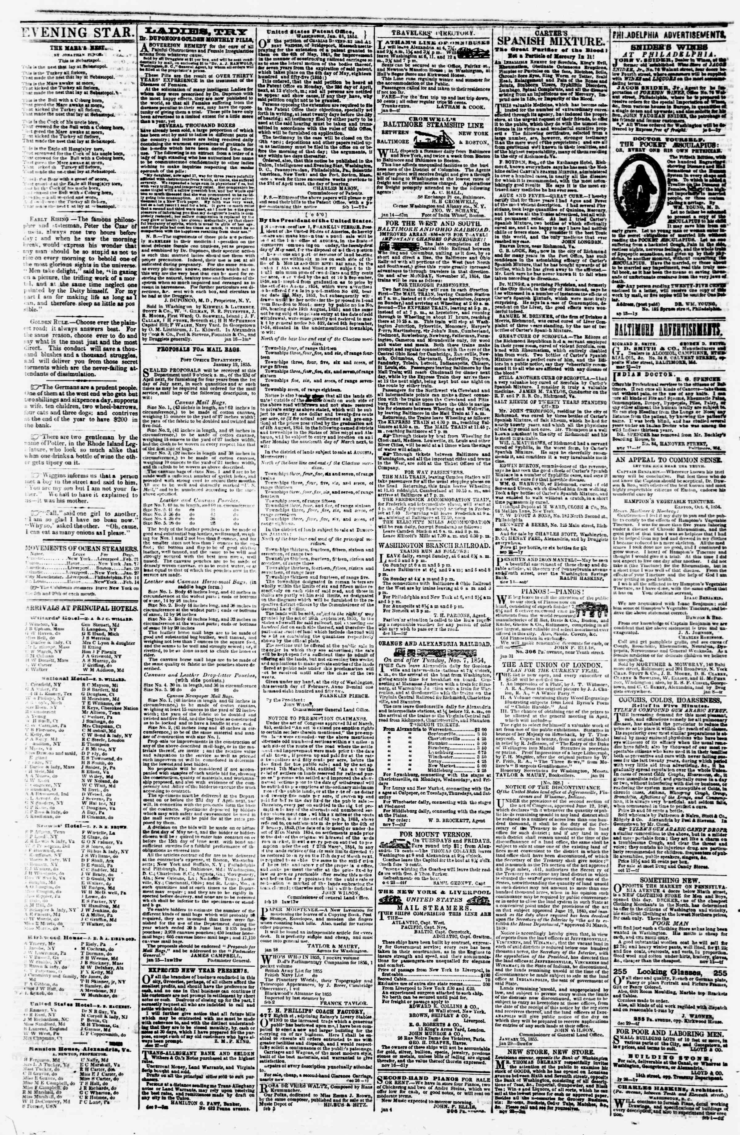 Newspaper of Evening Star dated February 20, 1855 Page 4