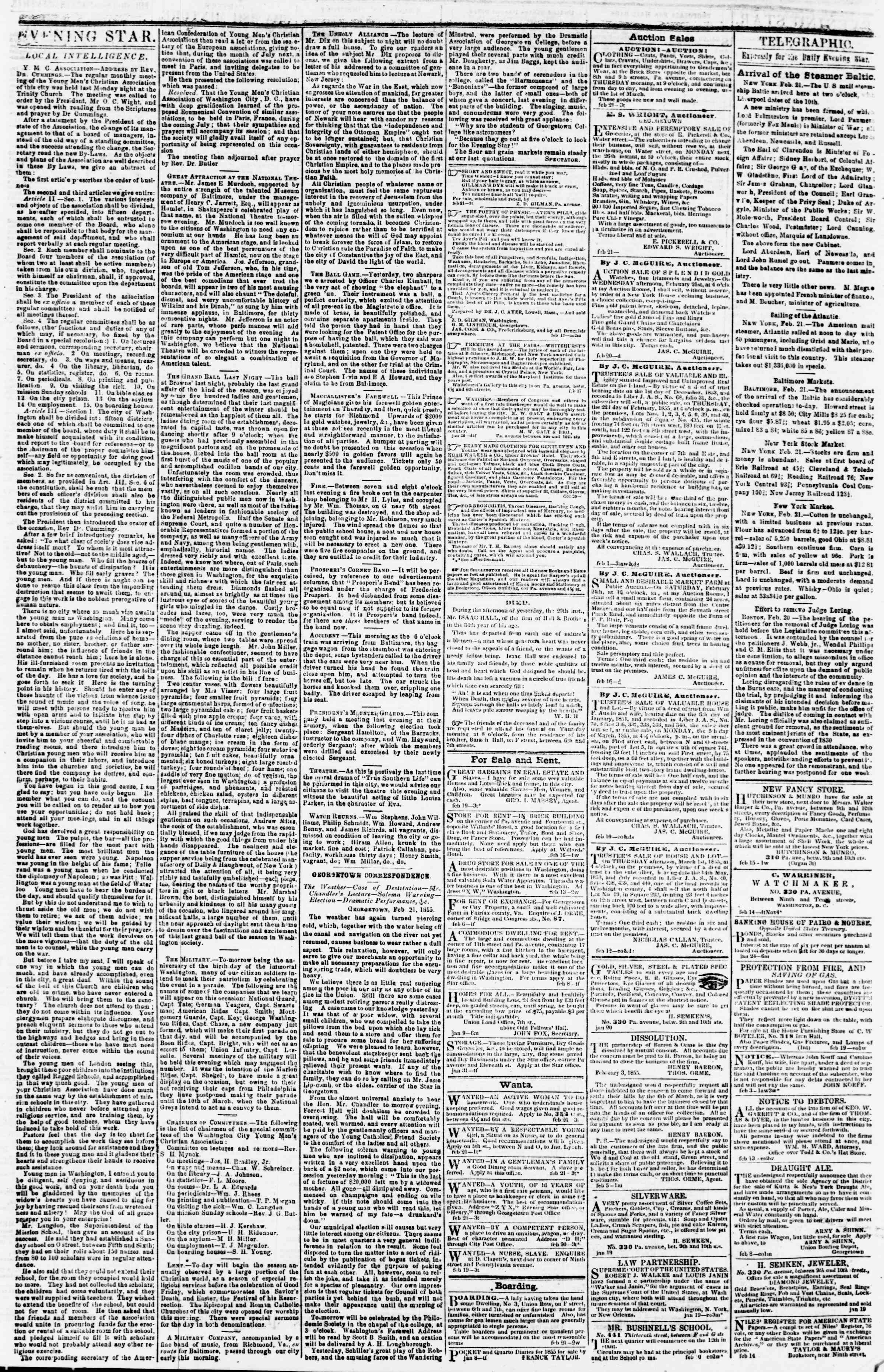 Newspaper of Evening Star dated February 21, 1855 Page 3