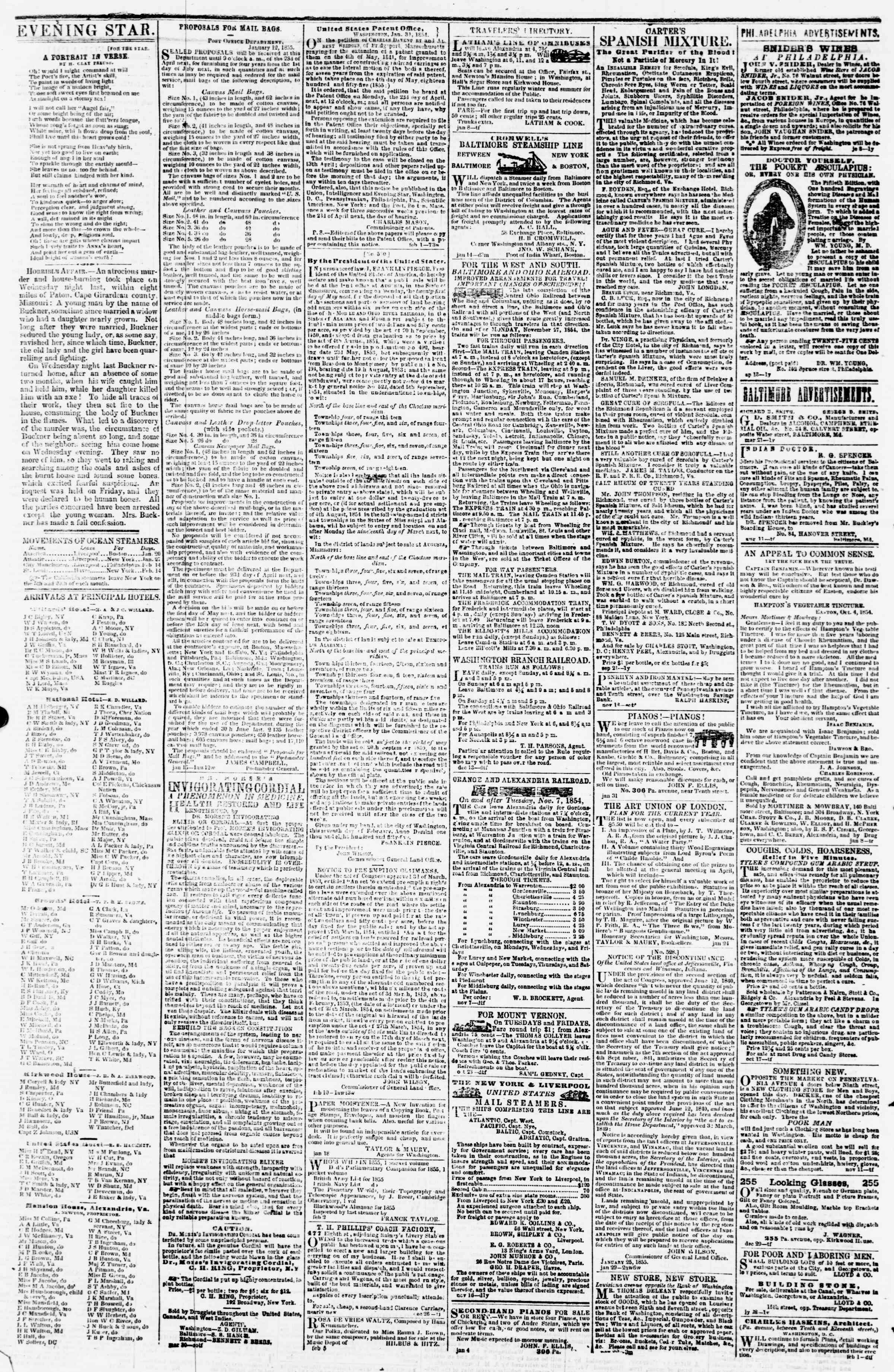 Newspaper of Evening Star dated February 21, 1855 Page 4