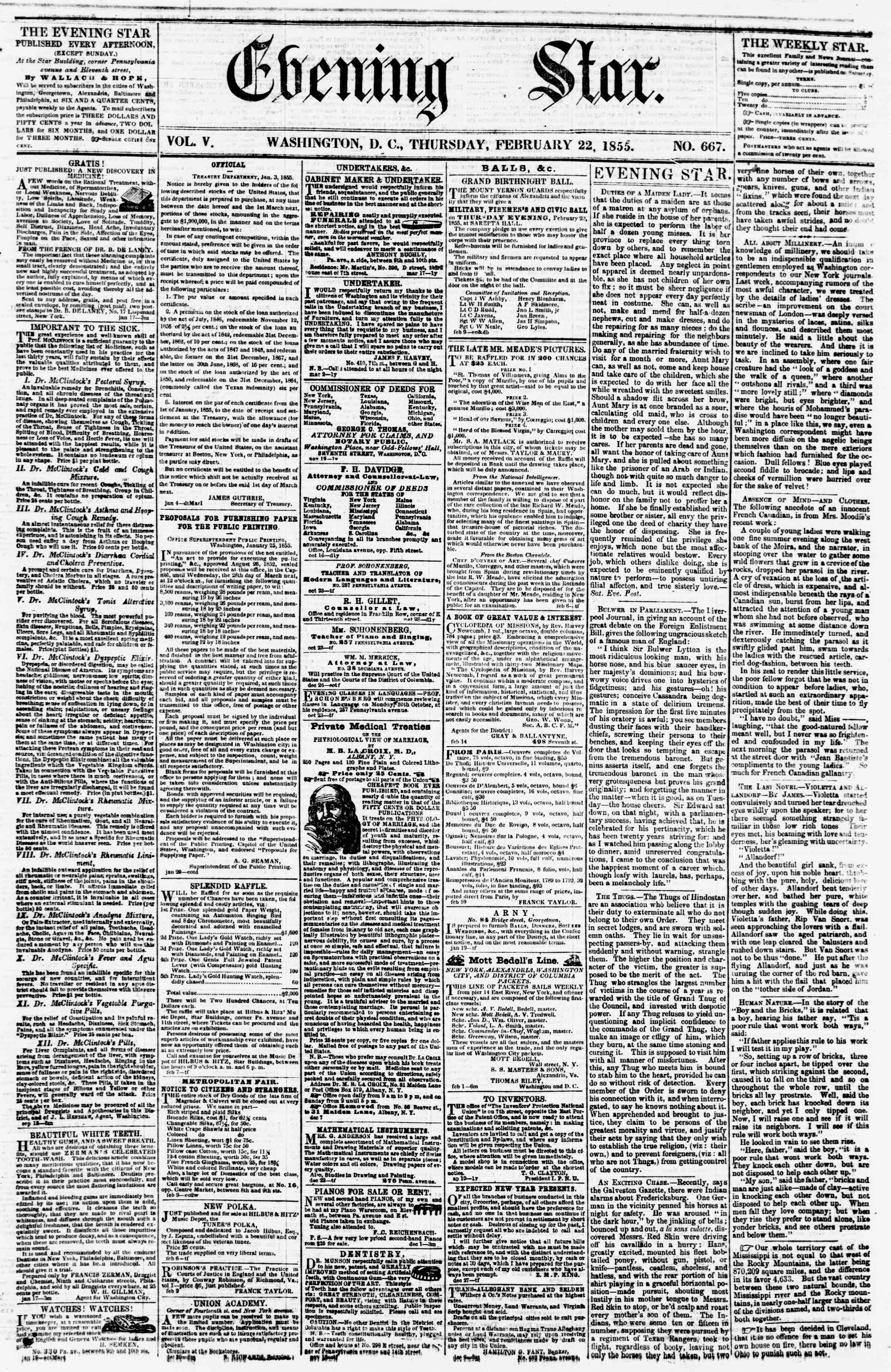 Newspaper of Evening Star dated February 22, 1855 Page 1