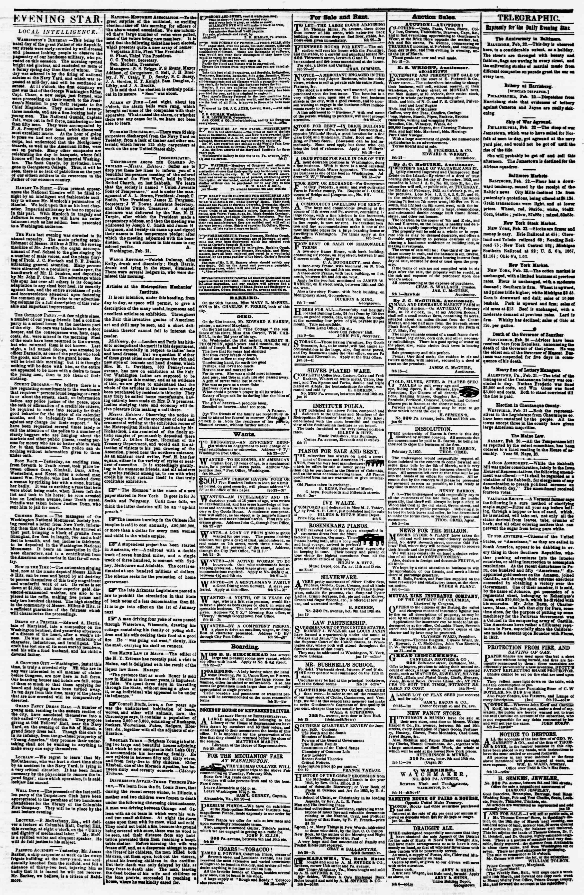 Newspaper of Evening Star dated February 22, 1855 Page 3