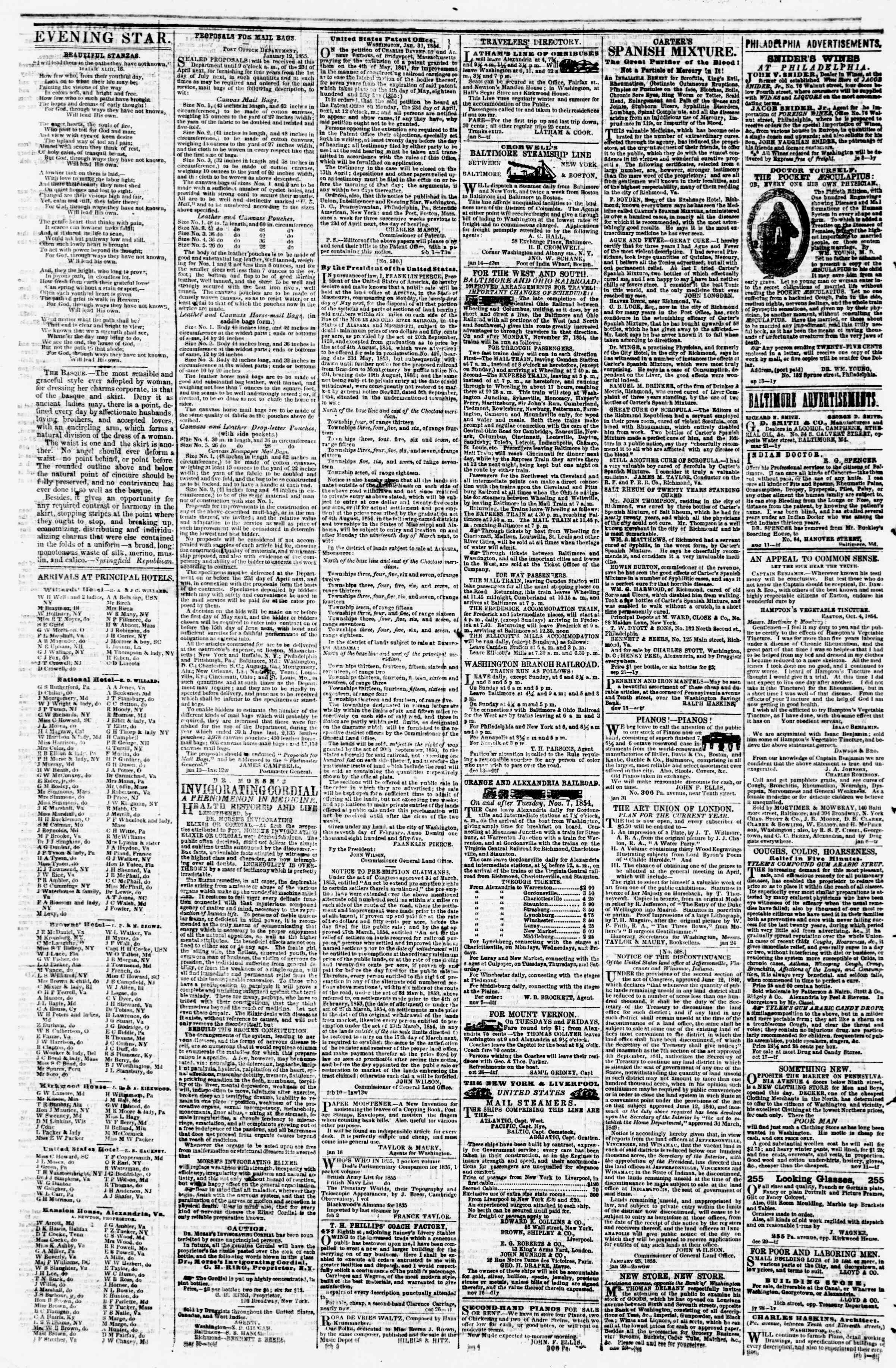 Newspaper of Evening Star dated February 22, 1855 Page 4