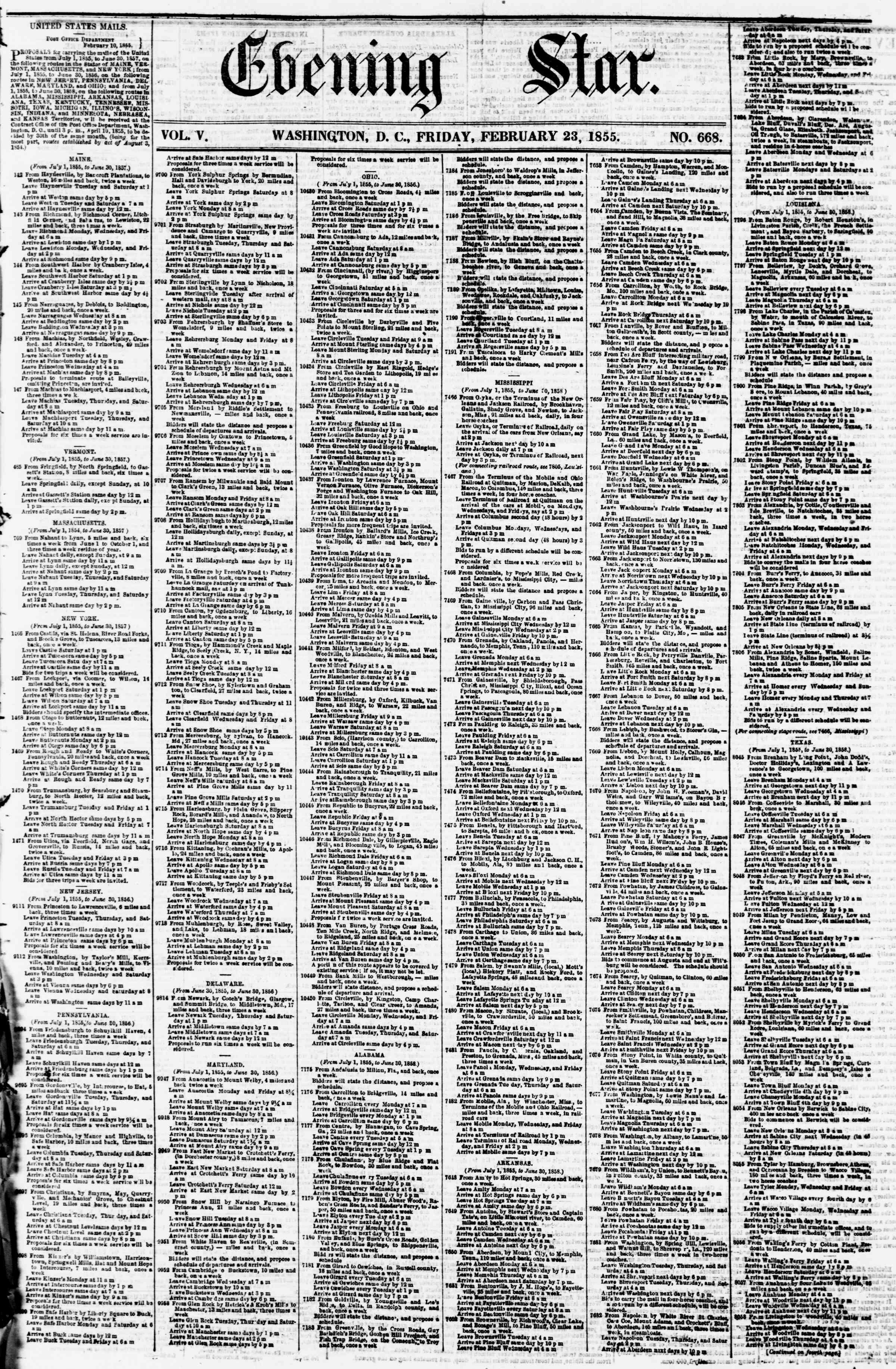 23 Şubat 1855 tarihli Evening Star Gazetesi Sayfa 1