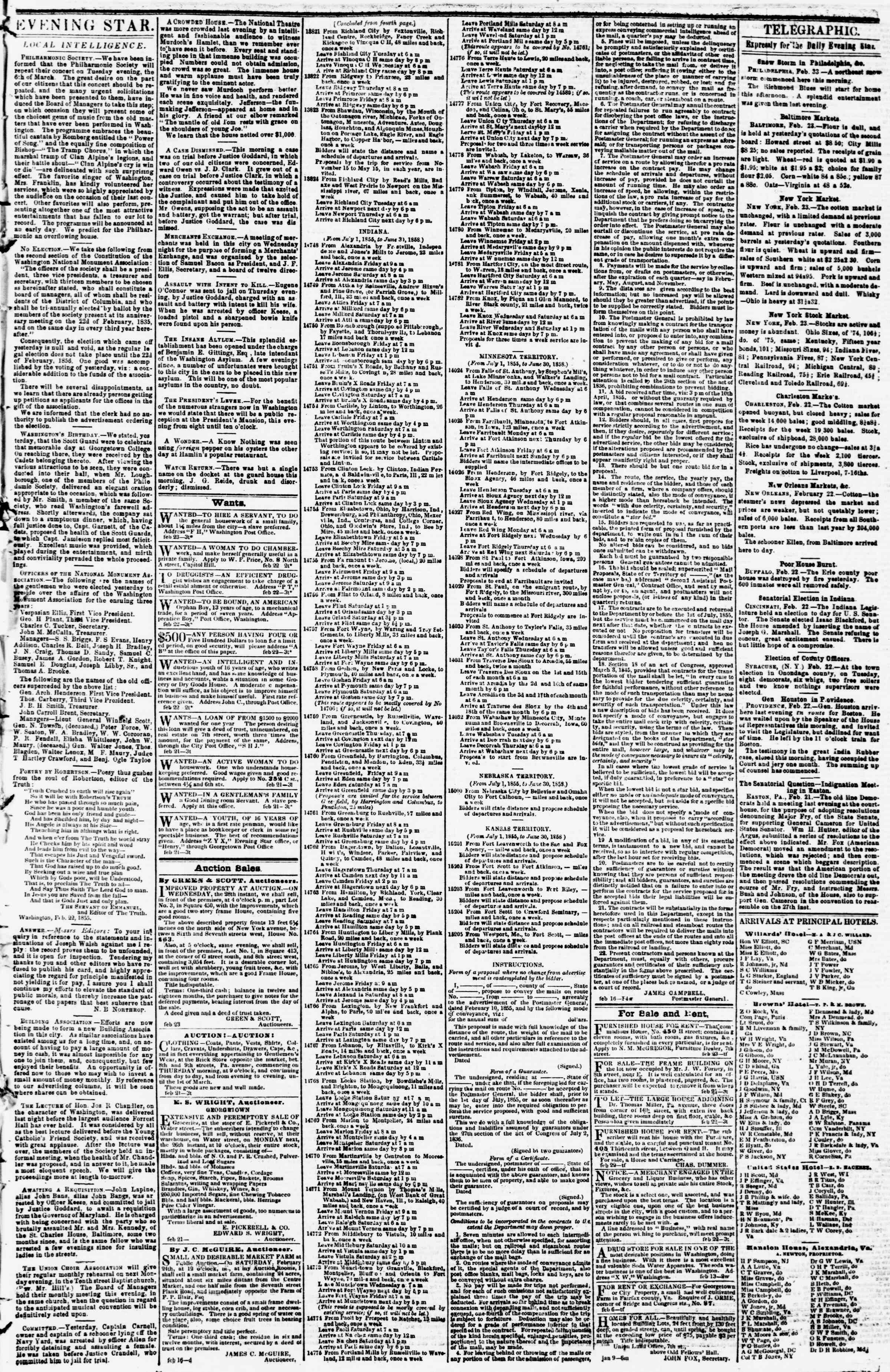 Newspaper of Evening Star dated February 23, 1855 Page 3