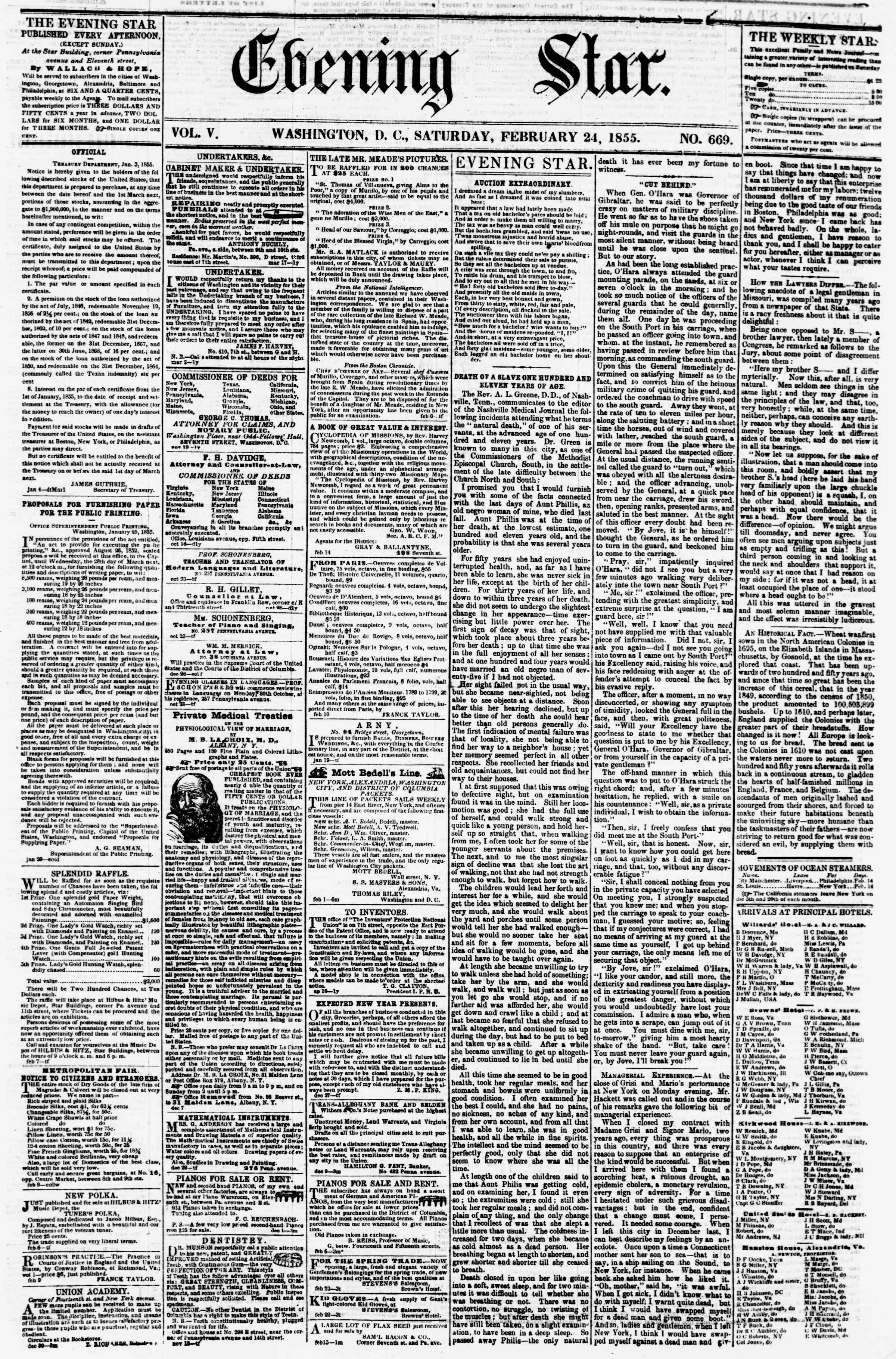 Newspaper of Evening Star dated February 24, 1855 Page 1