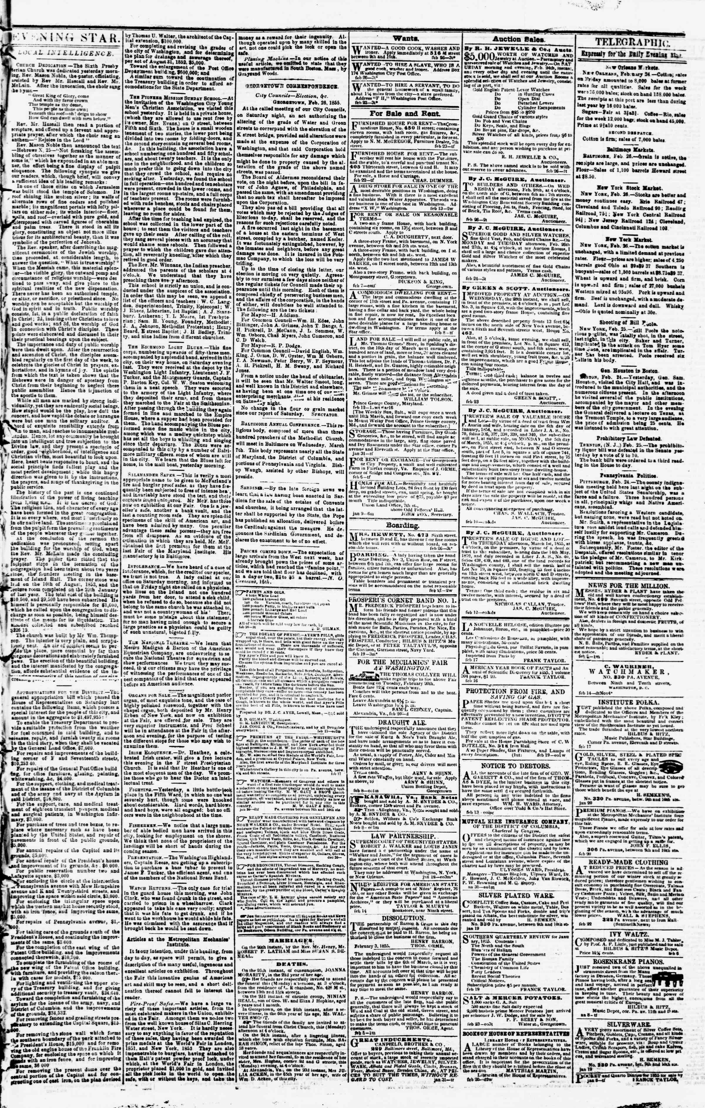 Newspaper of Evening Star dated February 26, 1855 Page 3