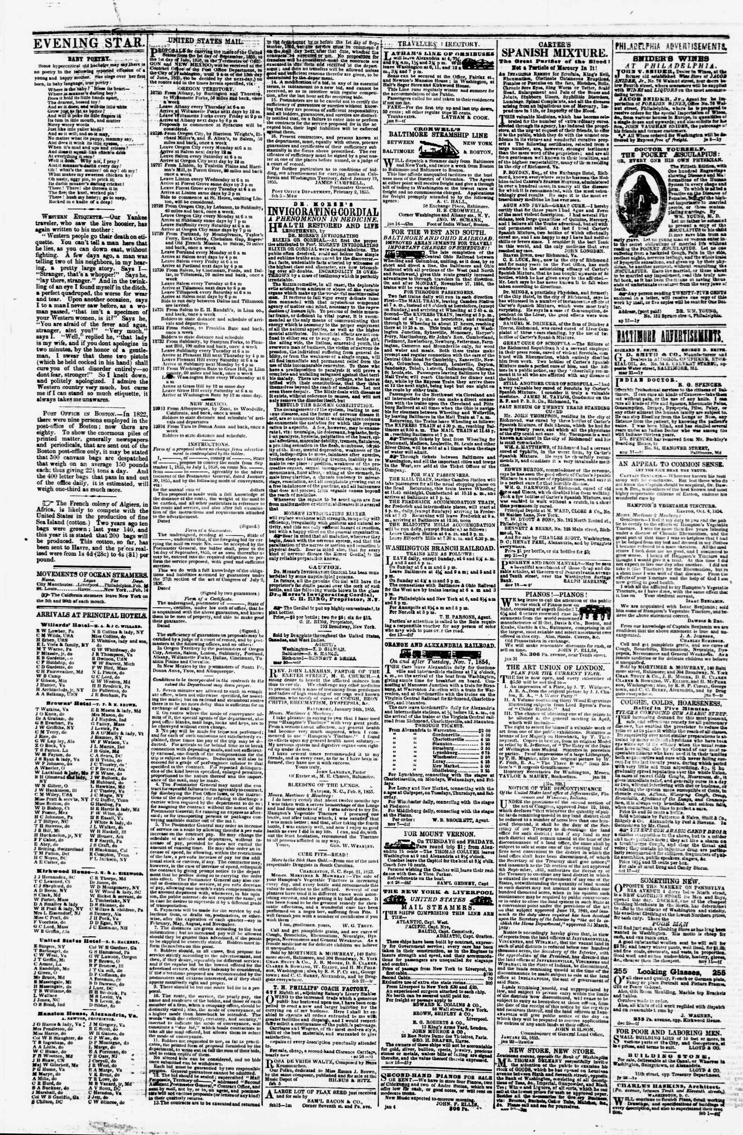 Newspaper of Evening Star dated February 26, 1855 Page 4