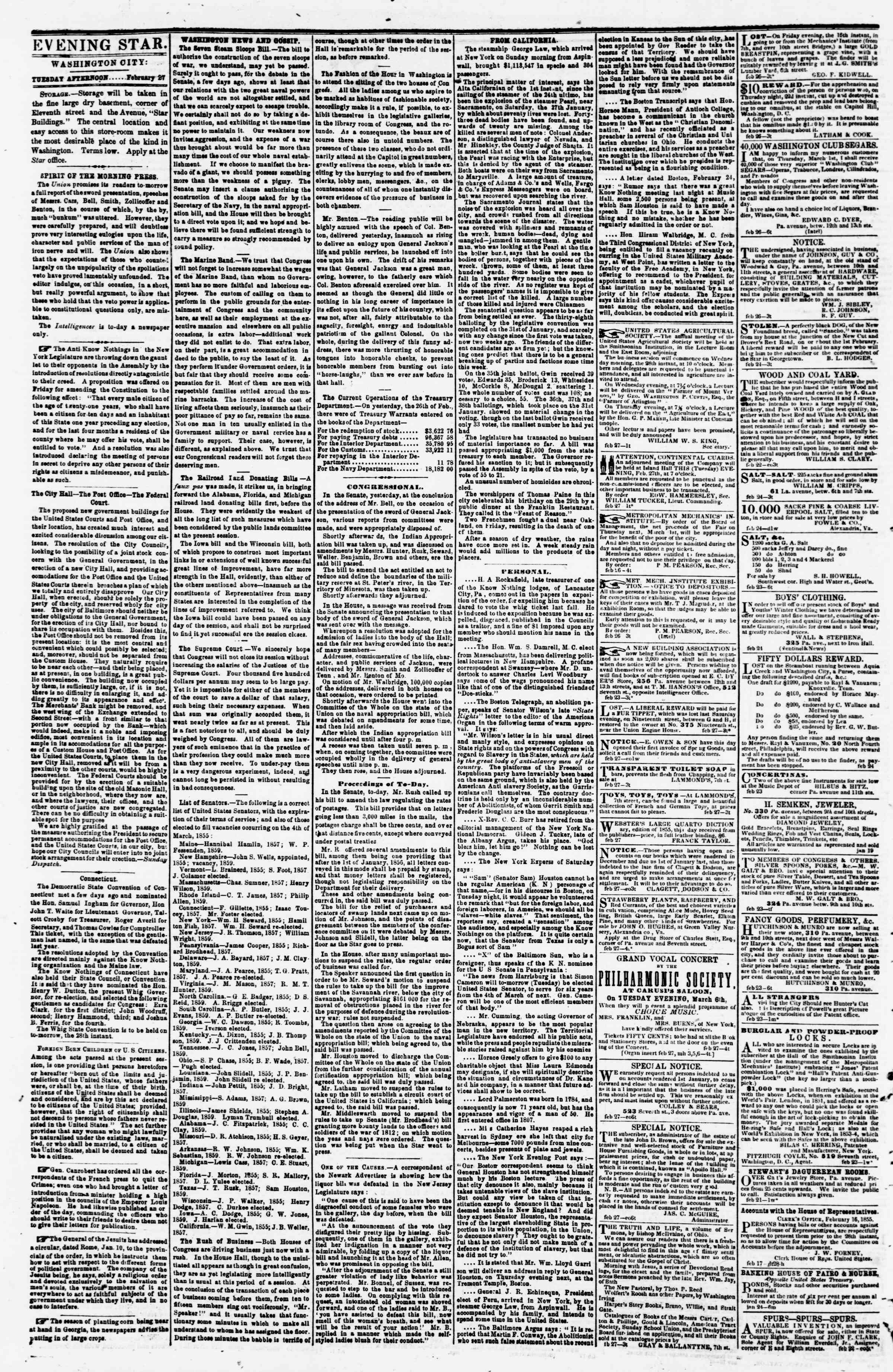 Newspaper of Evening Star dated February 27, 1855 Page 2