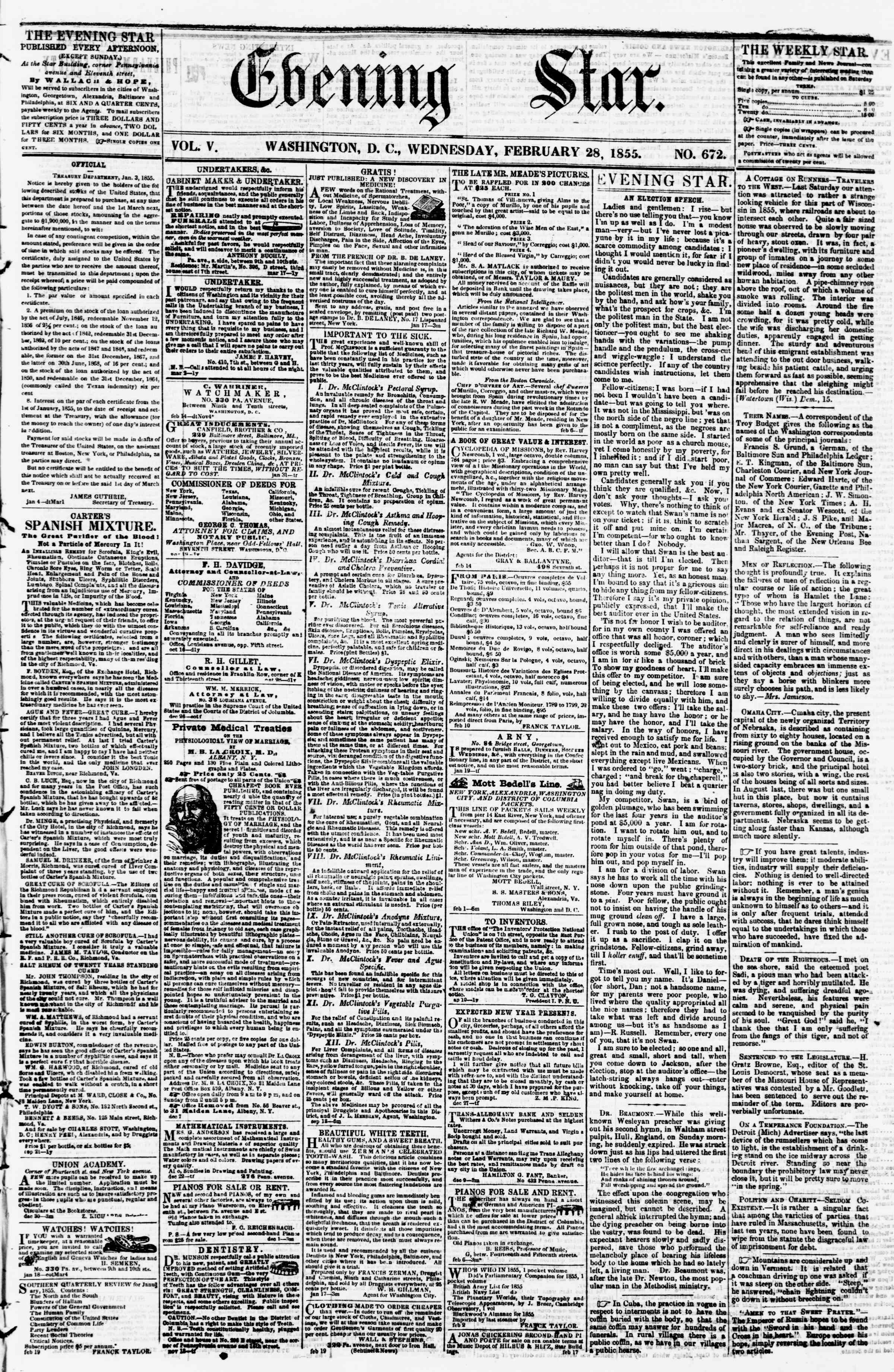 Newspaper of Evening Star dated February 28, 1855 Page 1