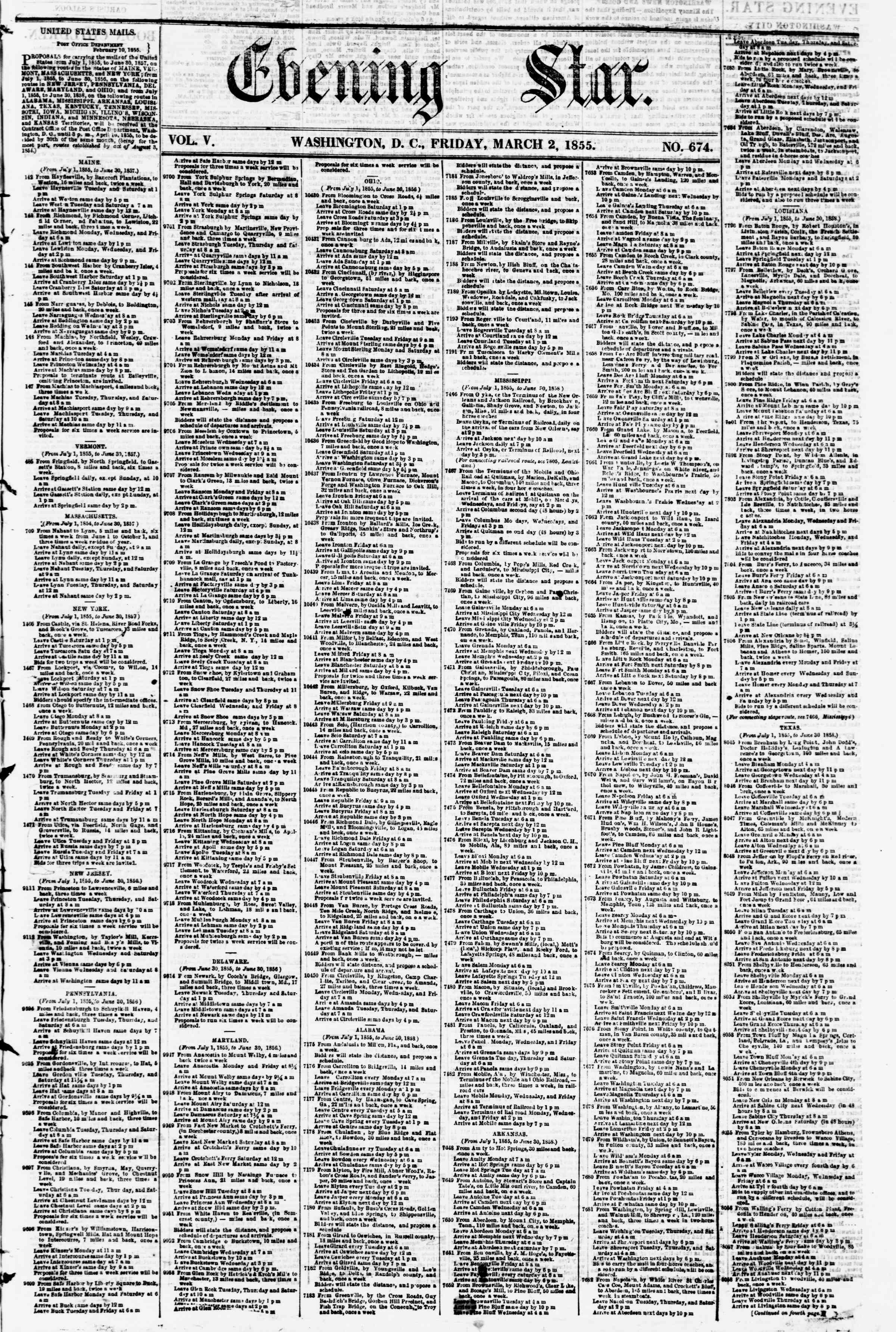 Newspaper of Evening Star dated March 2, 1855 Page 1