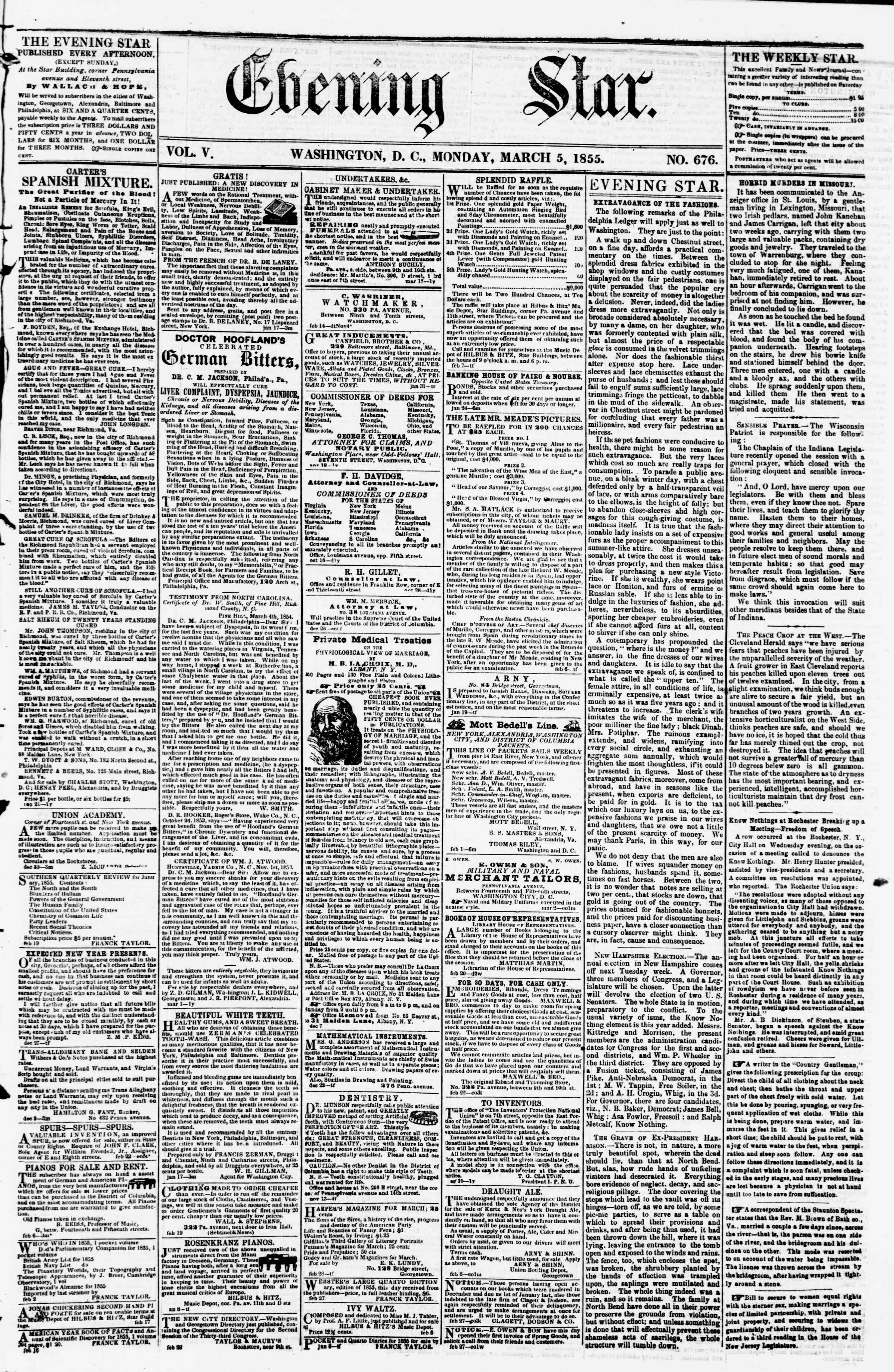 Newspaper of Evening Star dated March 5, 1855 Page 1
