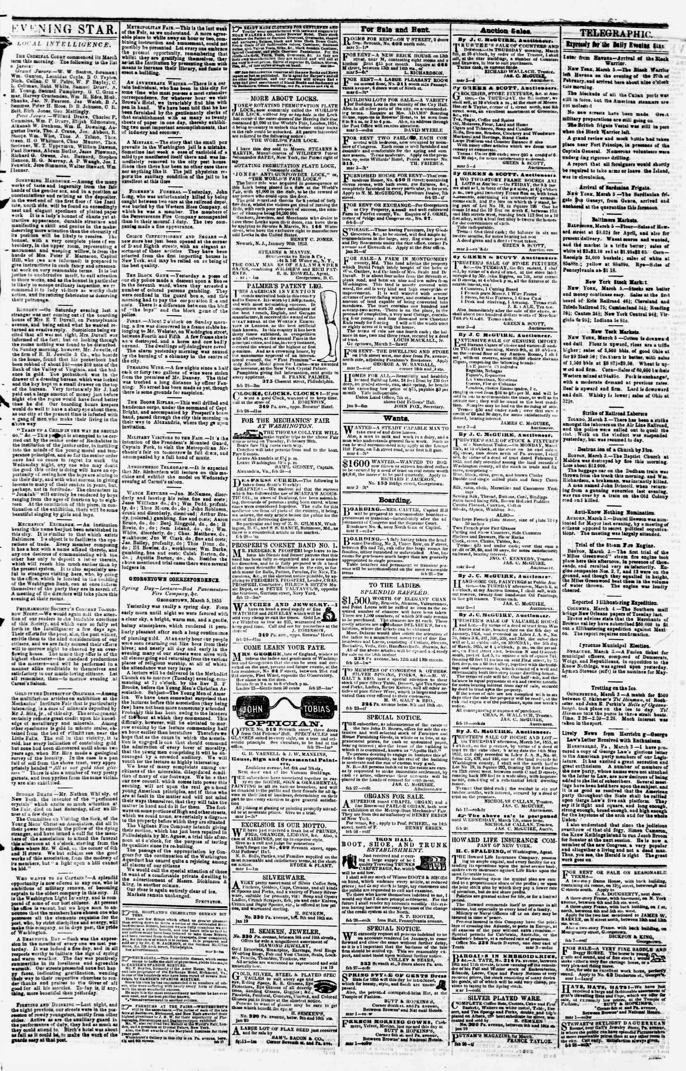 Newspaper of Evening Star dated March 5, 1855 Page 3