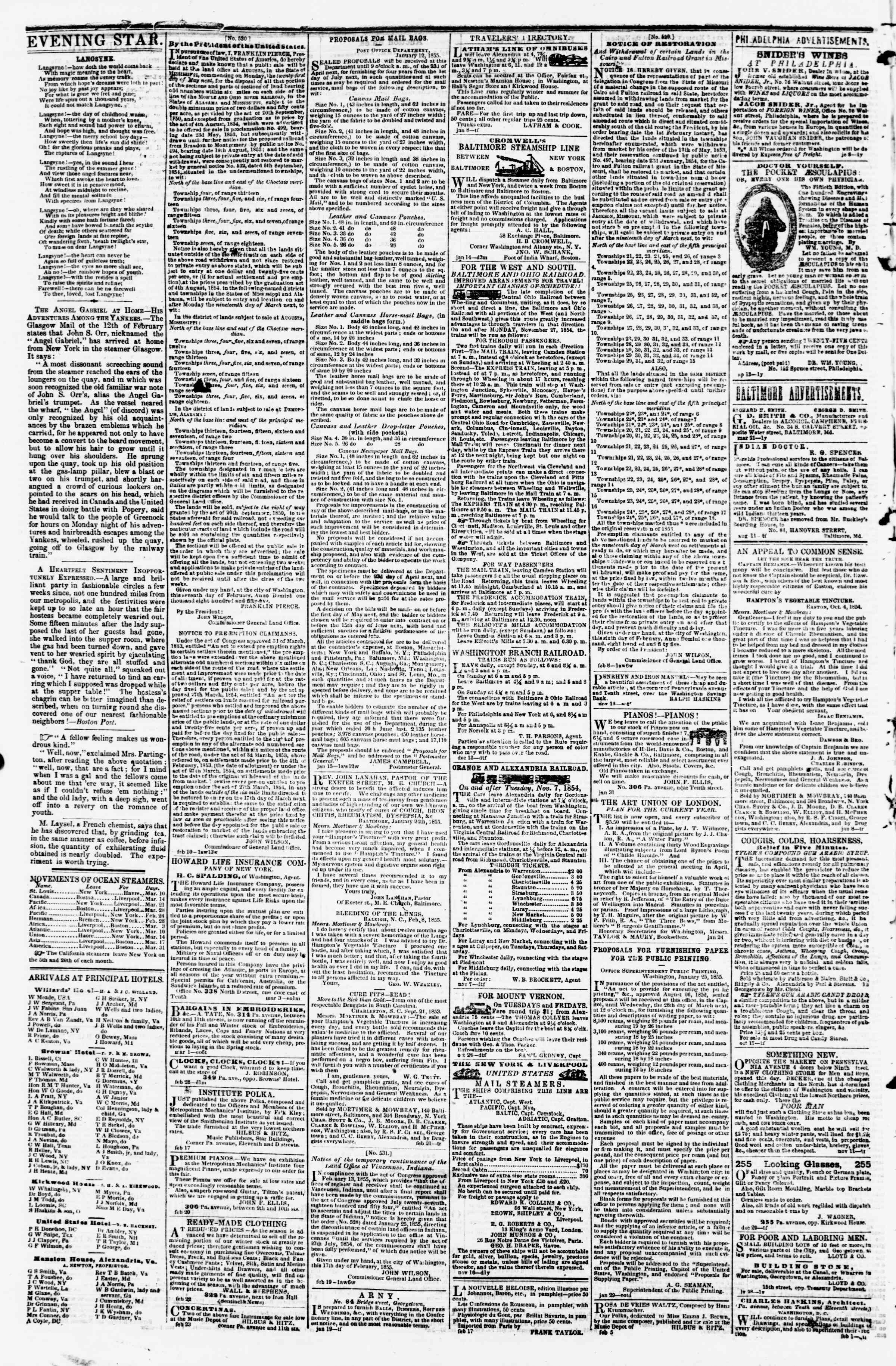 Newspaper of Evening Star dated March 7, 1855 Page 4