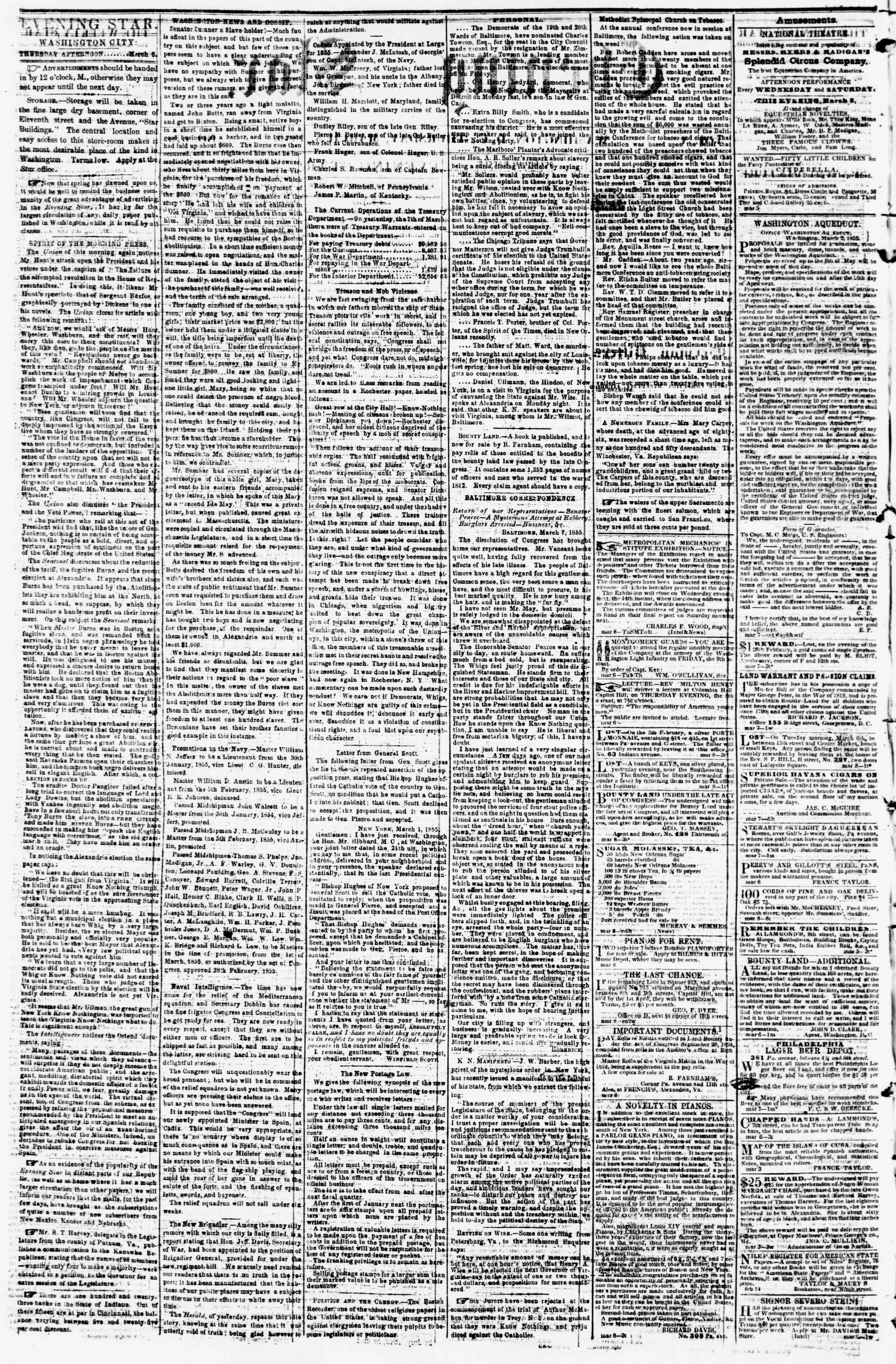 Newspaper of Evening Star dated March 8, 1855 Page 2