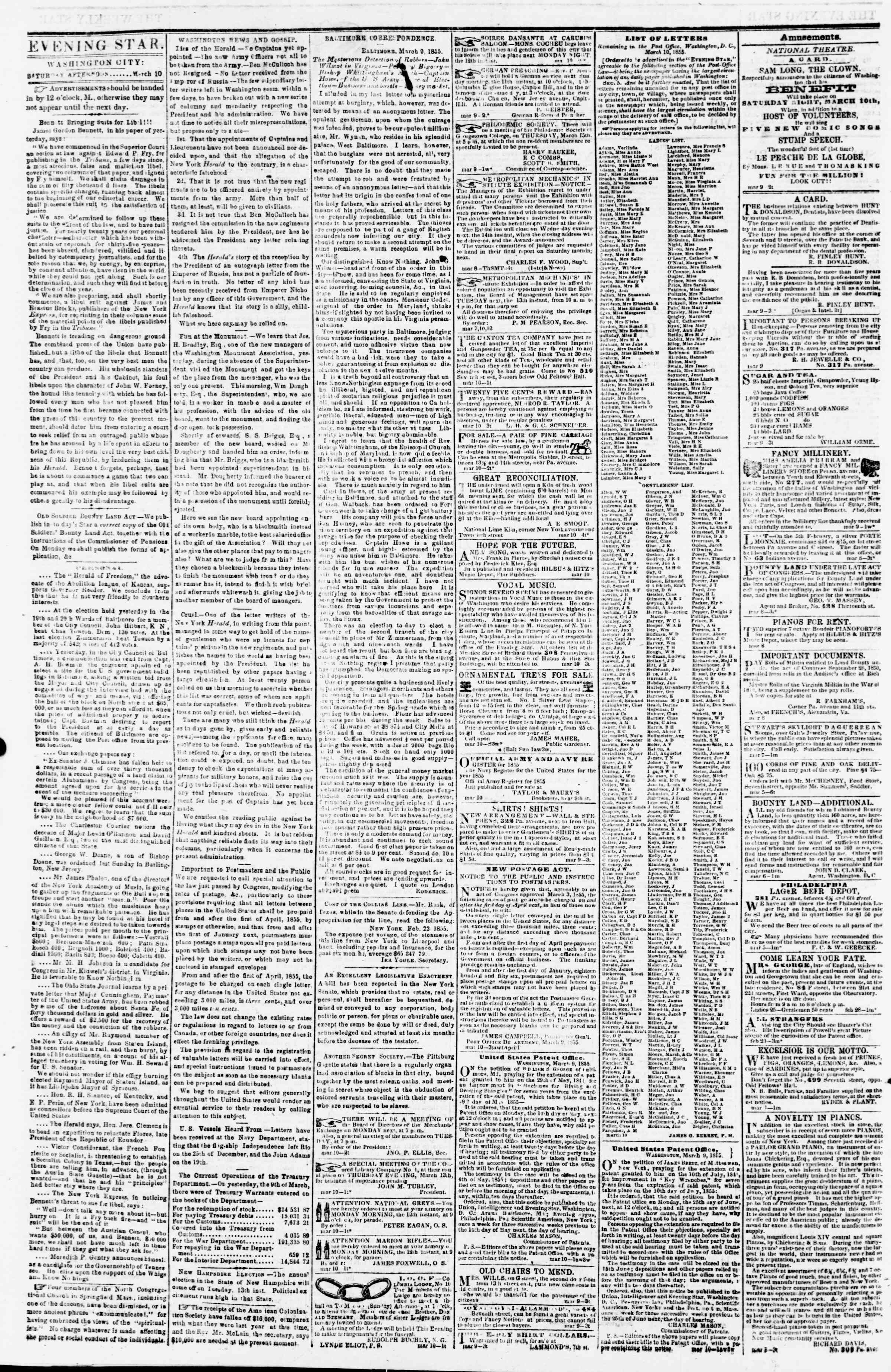 Newspaper of Evening Star dated March 10, 1855 Page 2
