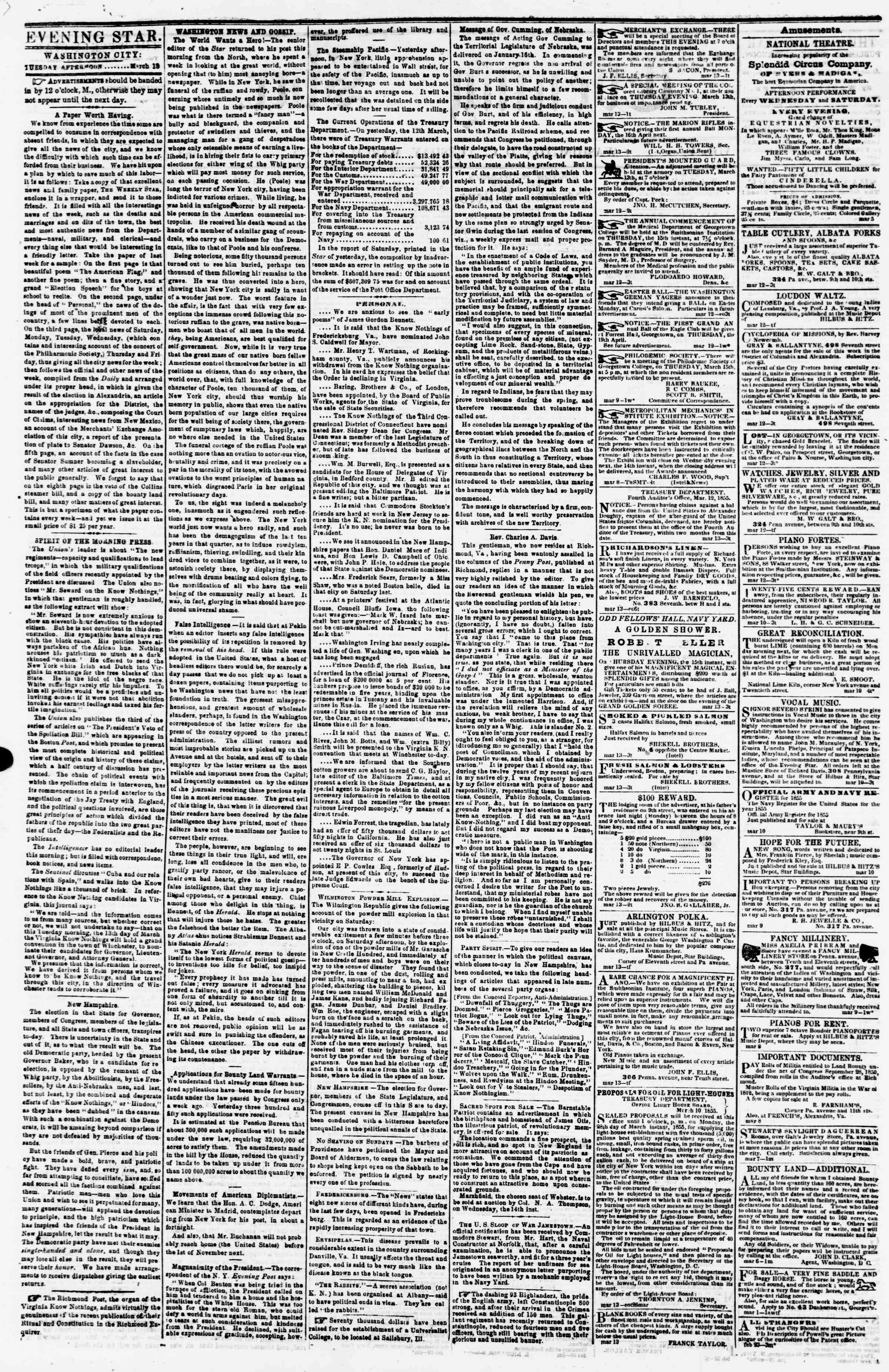 Newspaper of Evening Star dated March 13, 1855 Page 2