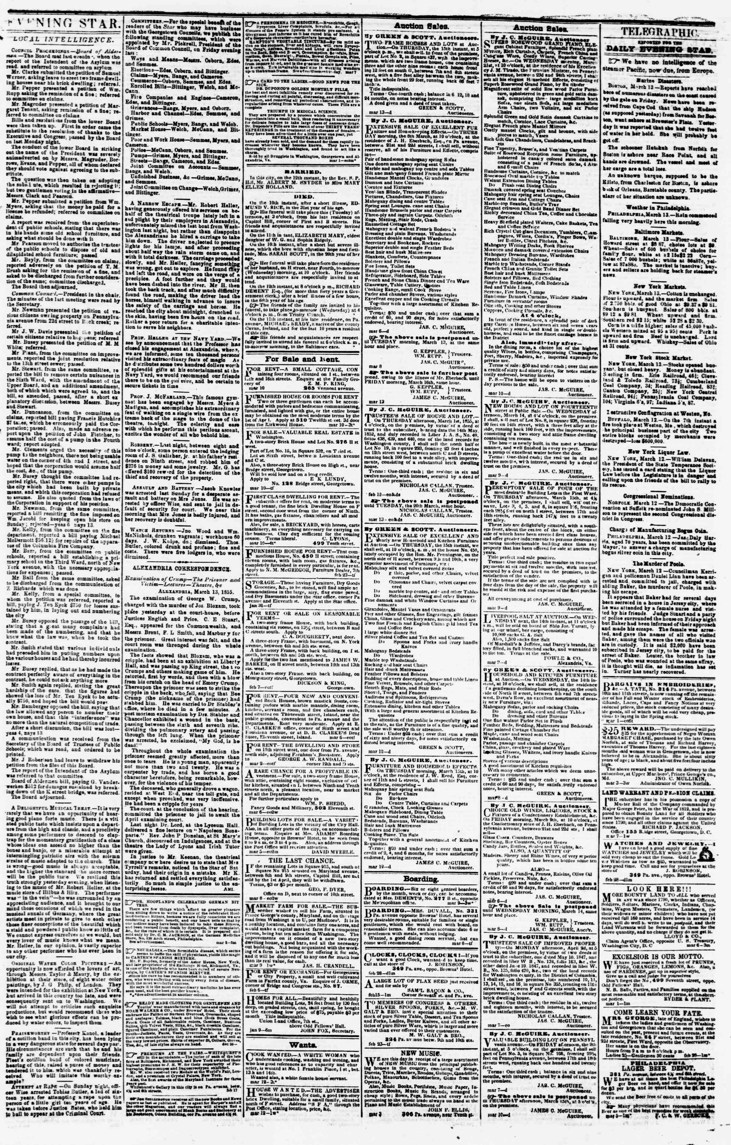 Newspaper of Evening Star dated March 13, 1855 Page 3