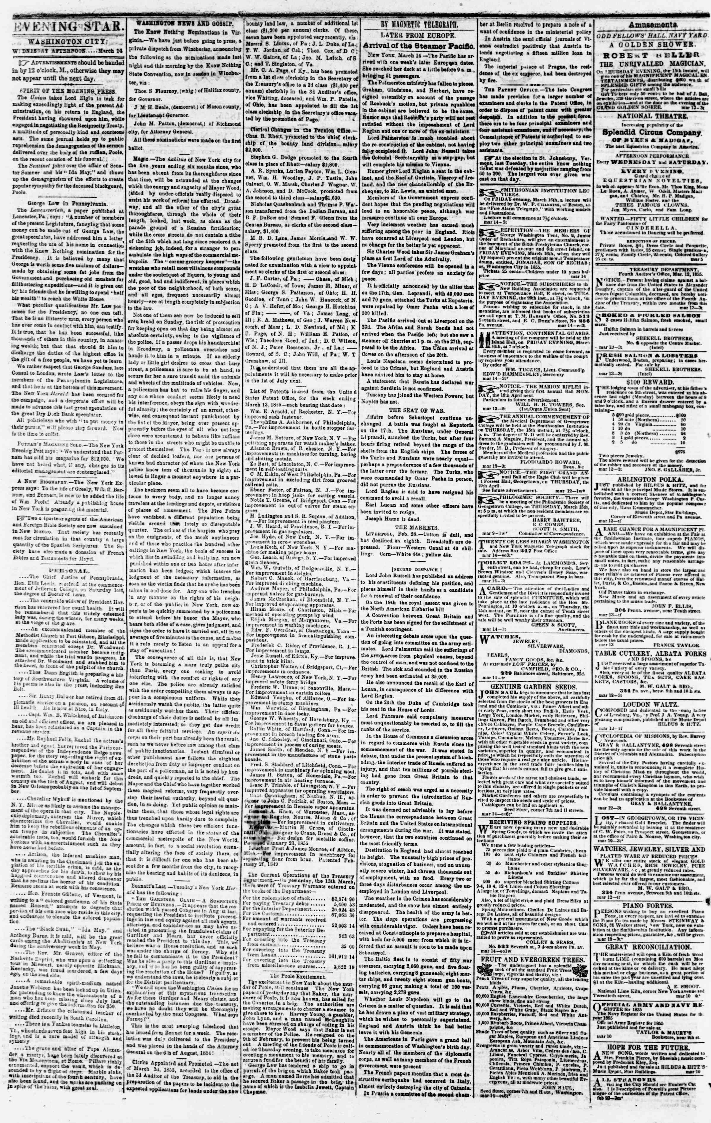 Newspaper of Evening Star dated March 14, 1855 Page 2
