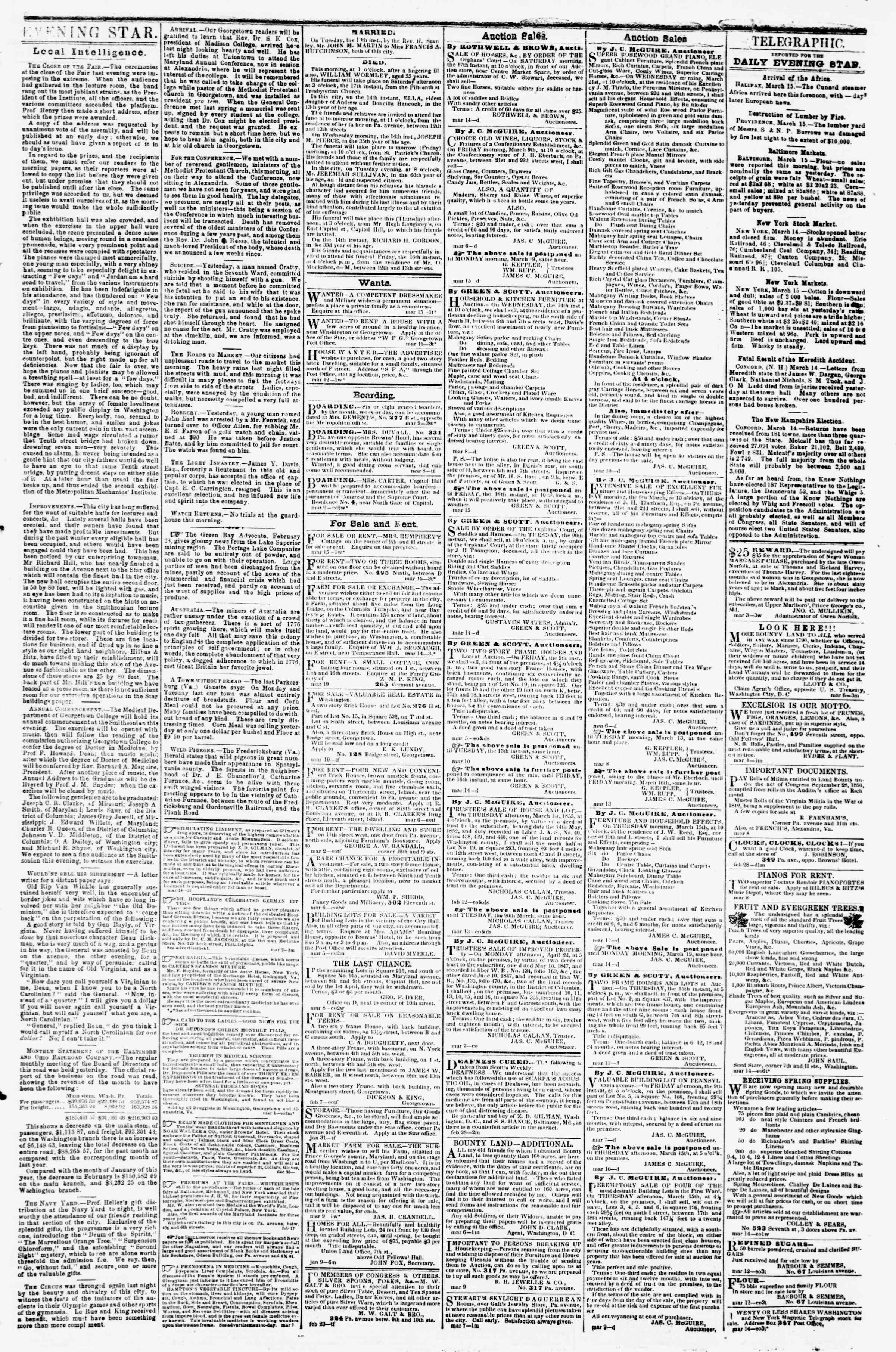 Newspaper of Evening Star dated March 15, 1855 Page 3