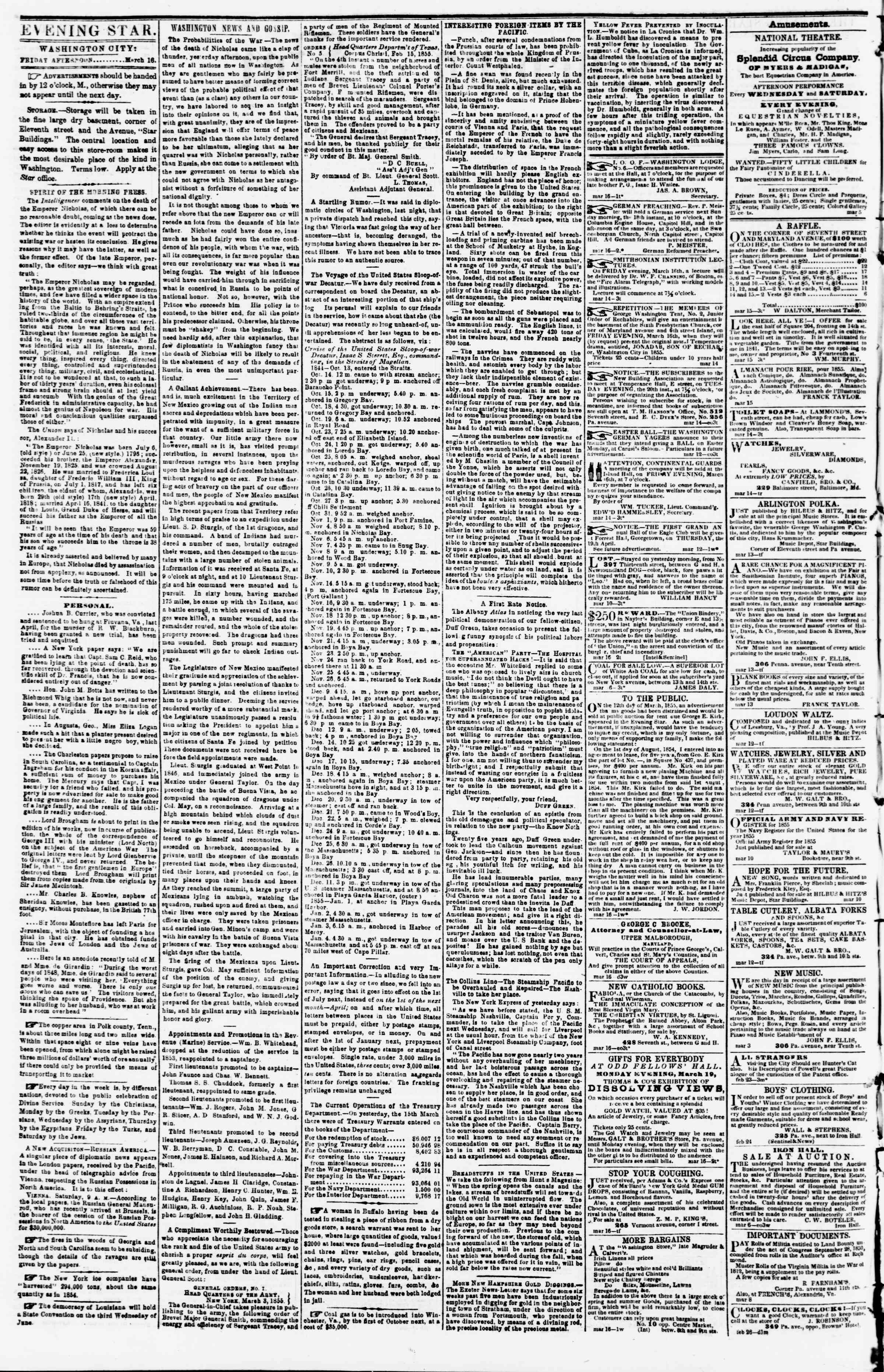 Newspaper of Evening Star dated March 16, 1855 Page 2
