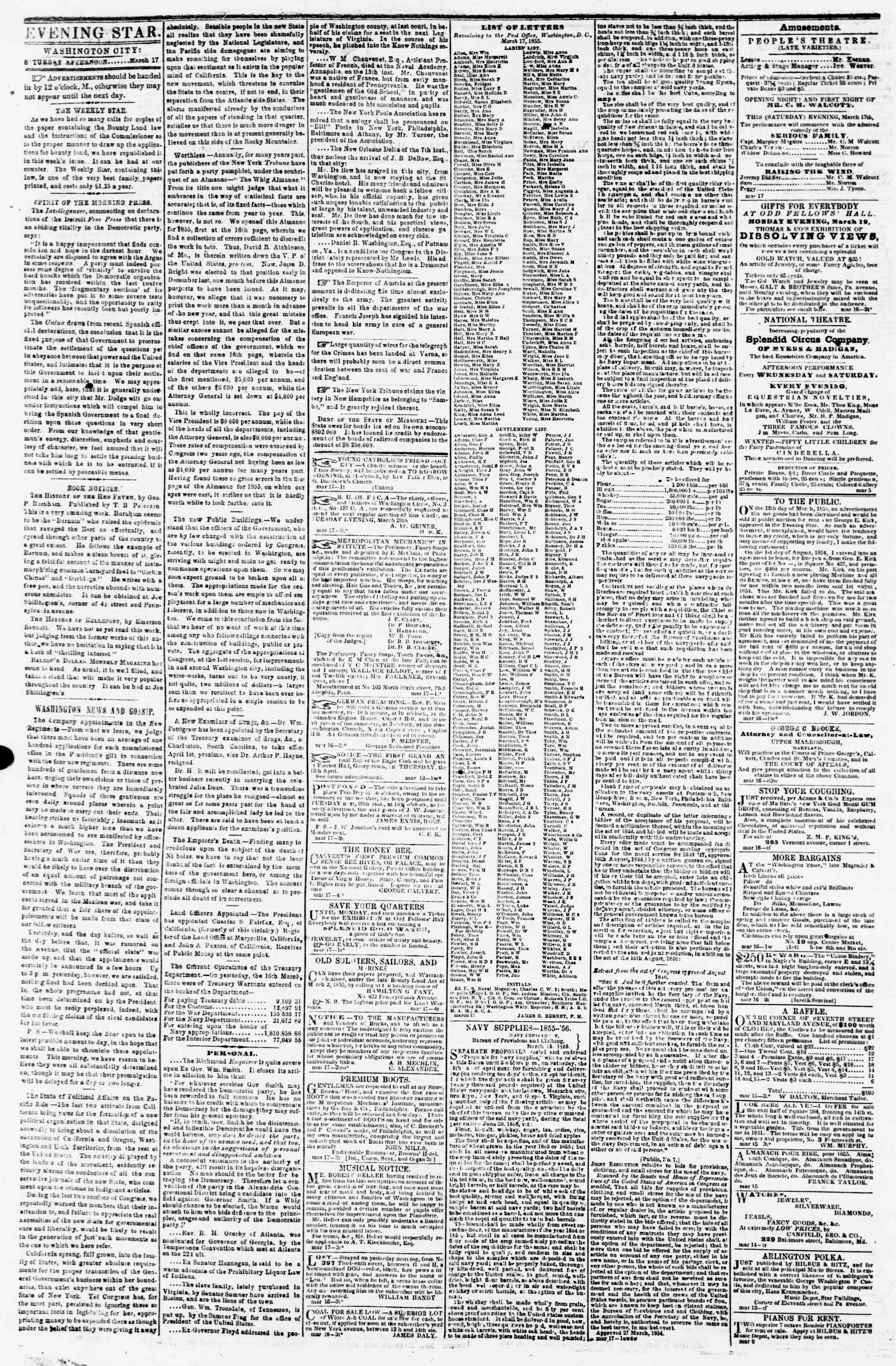 Newspaper of Evening Star dated March 17, 1855 Page 2